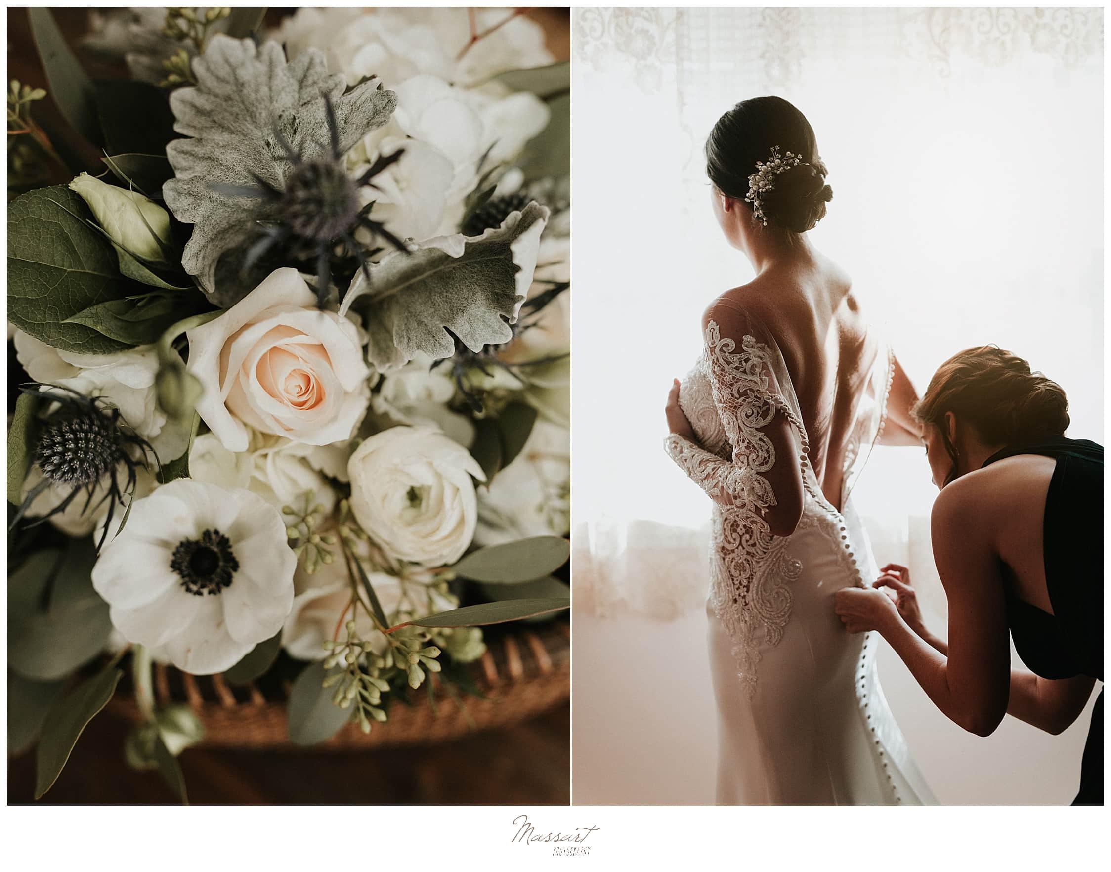 bride prepares for Foxboro MA wedding with Massart Photography