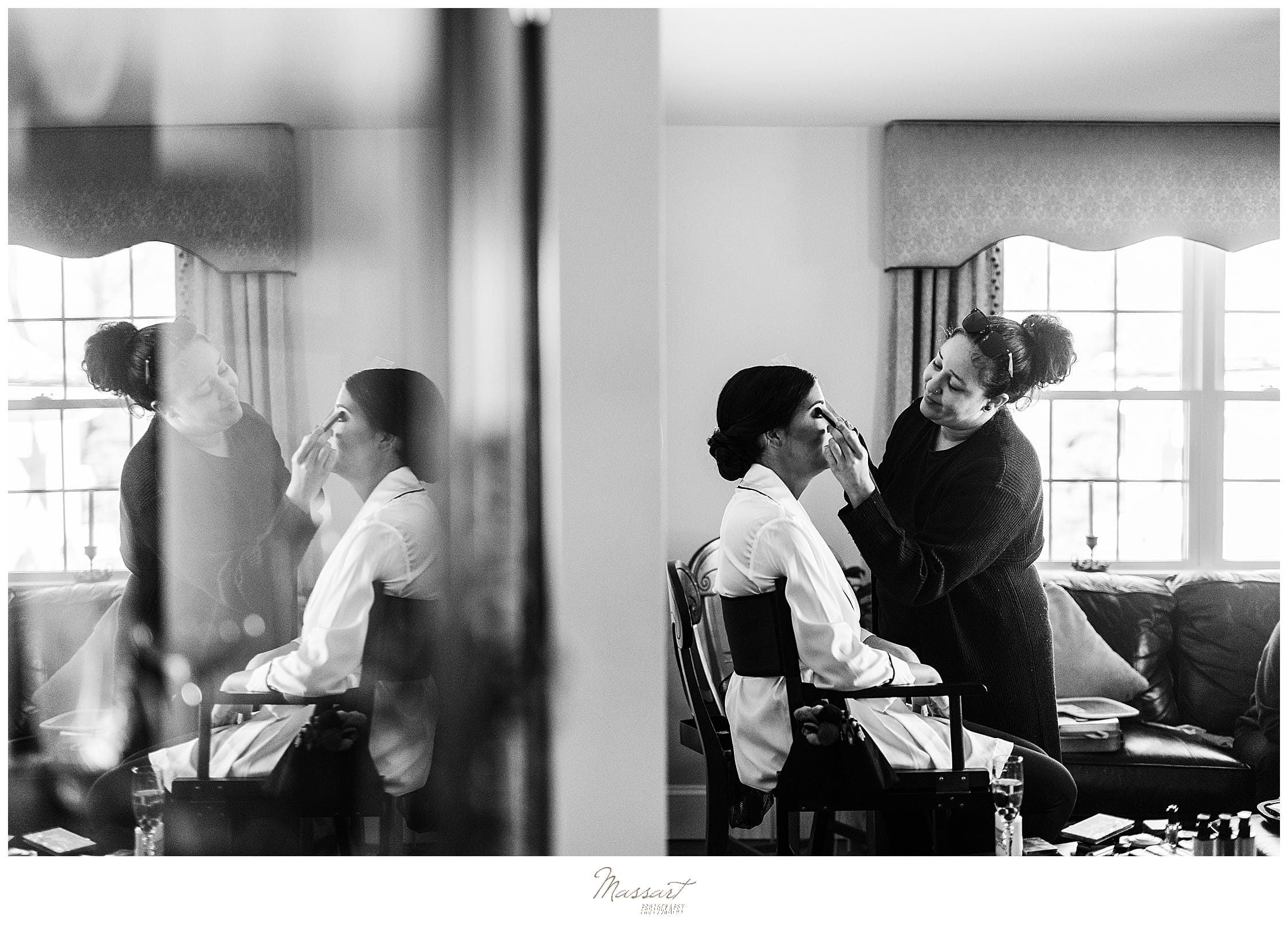 bride's makeup before Lakeview Pavilion photographed by Massart Photography