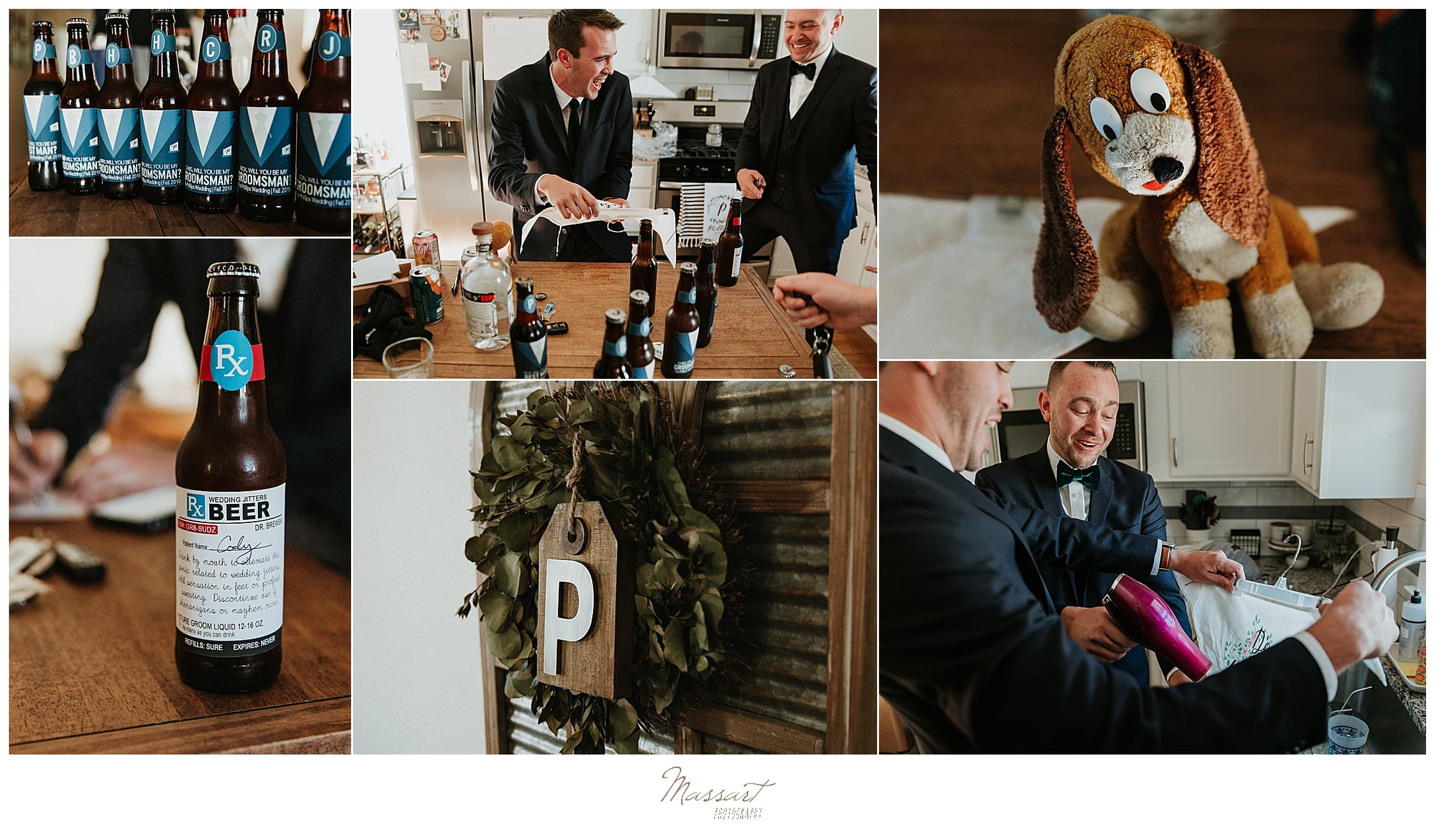 groomsmen prepare for wedding day in Massachusetts with Massart Photography