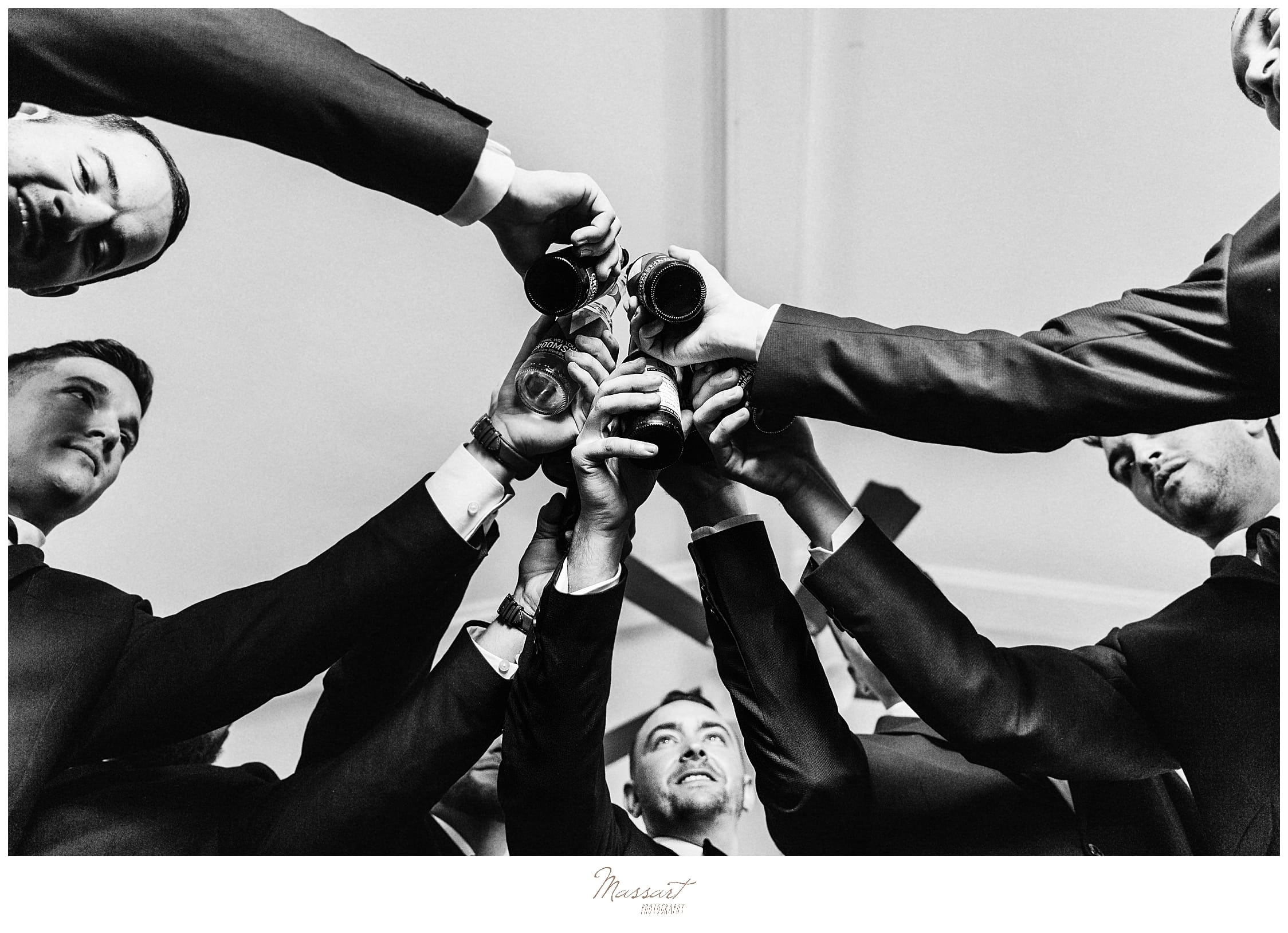 groomsmen cheer wedding day photographed by MA, CT, RI wedding photographers Massart Photography