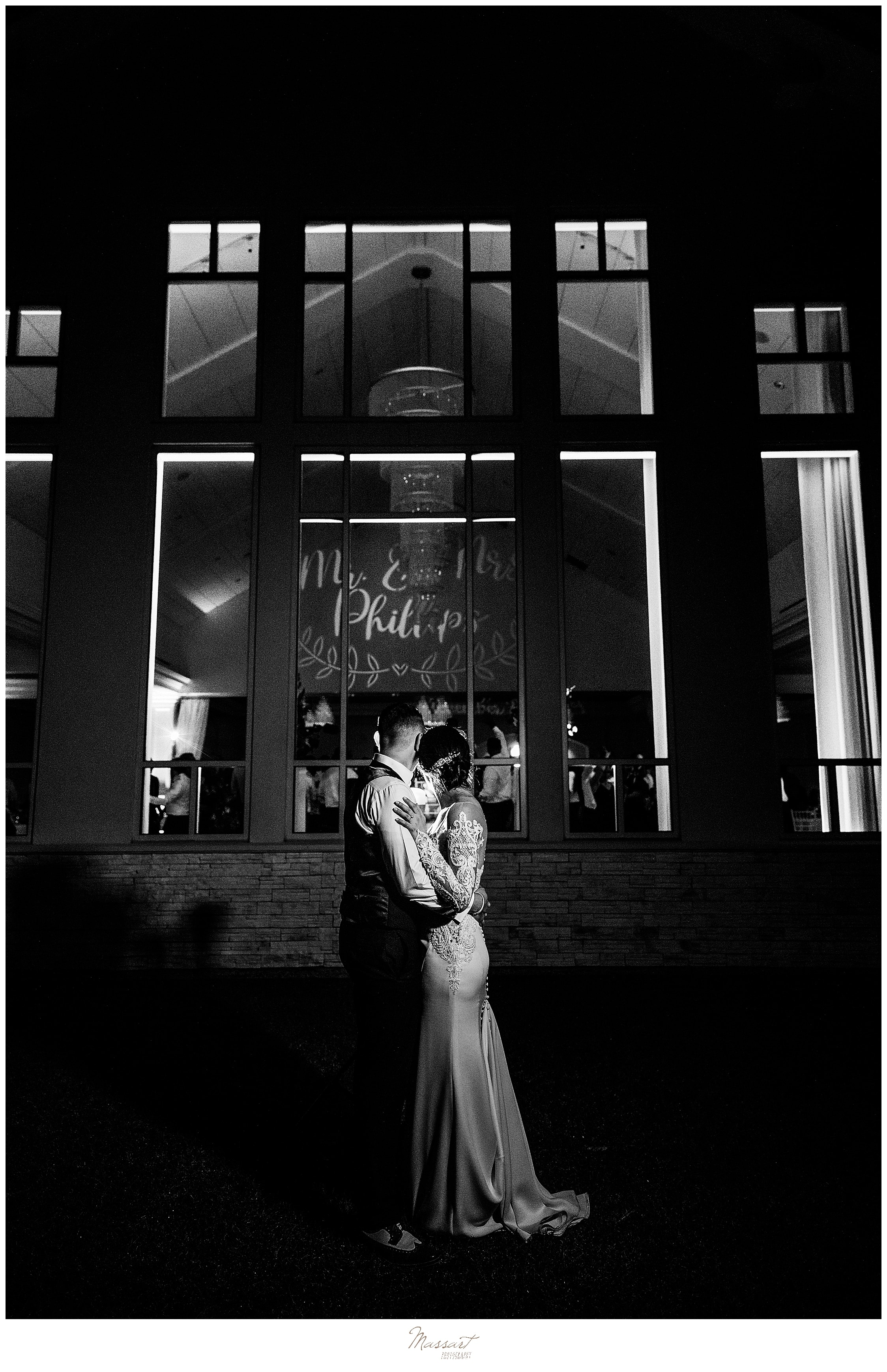 nighttime wedding portraits at Lakeview Pavilion with Massart Photography
