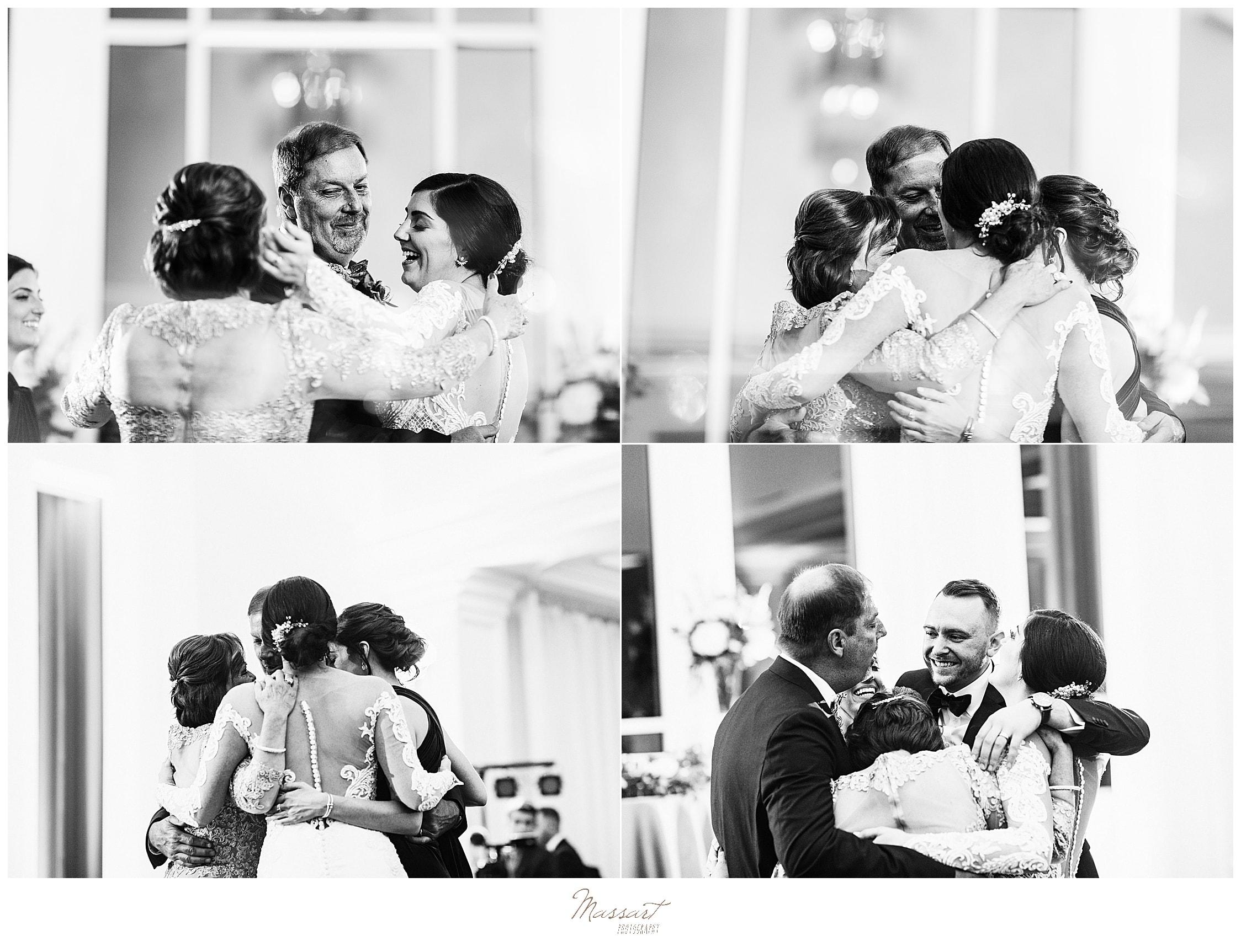 bride hugs family on dance floor with Massart Photography