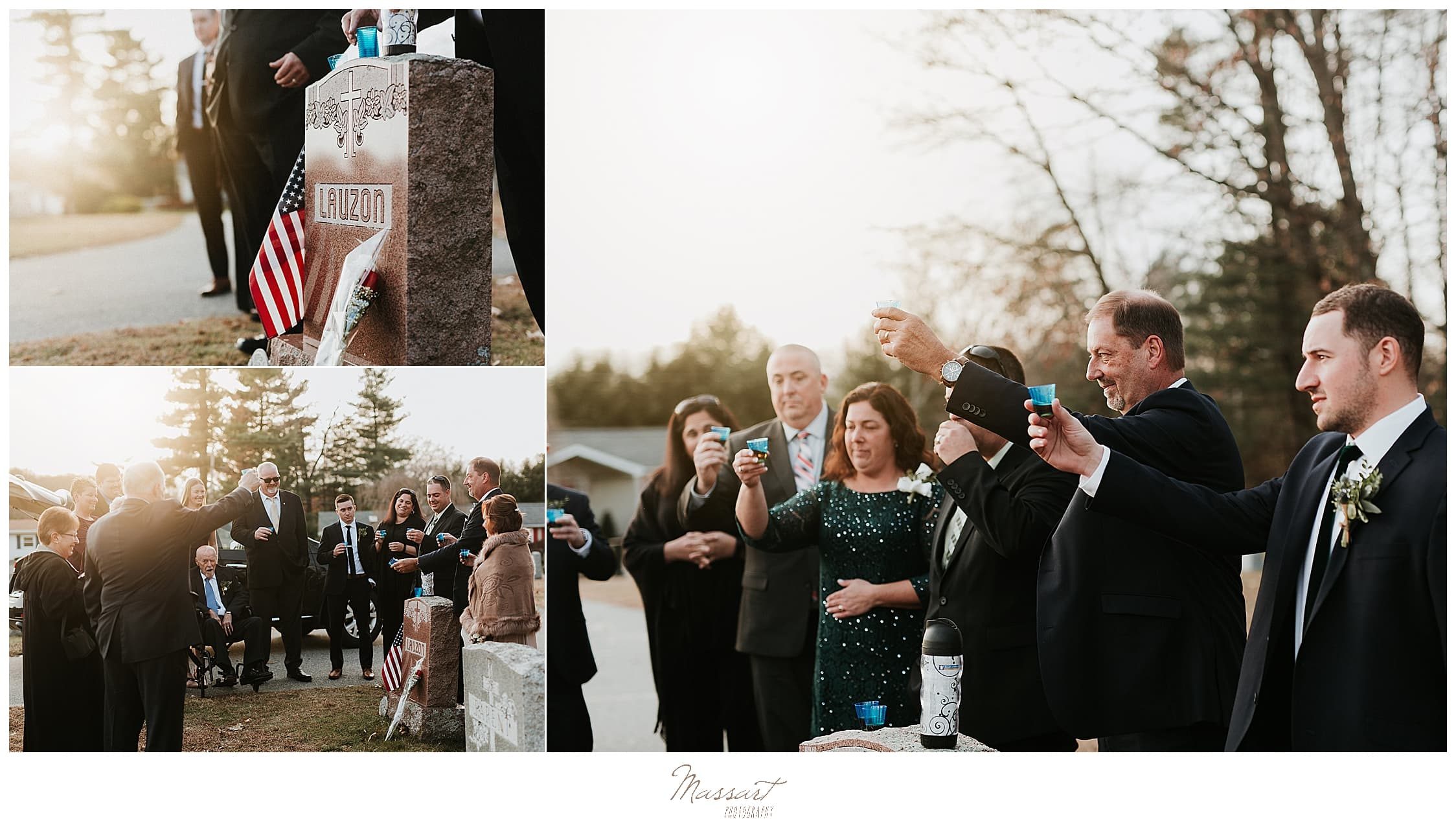 family toasts grandmother photographed by Massart Photography