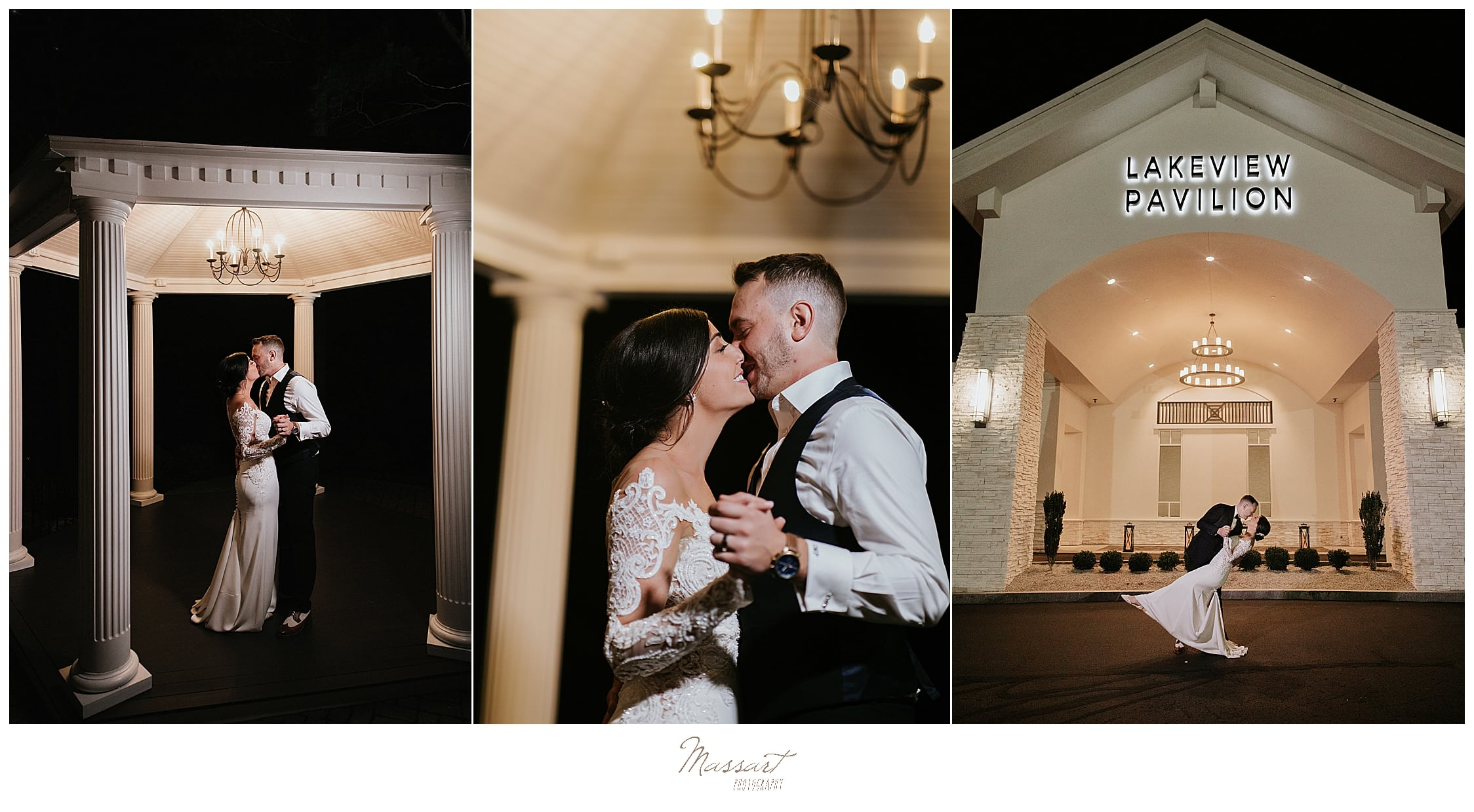 nighttime portraits of bride and groom at Lakeview Pavilion in MA with Massart Photography