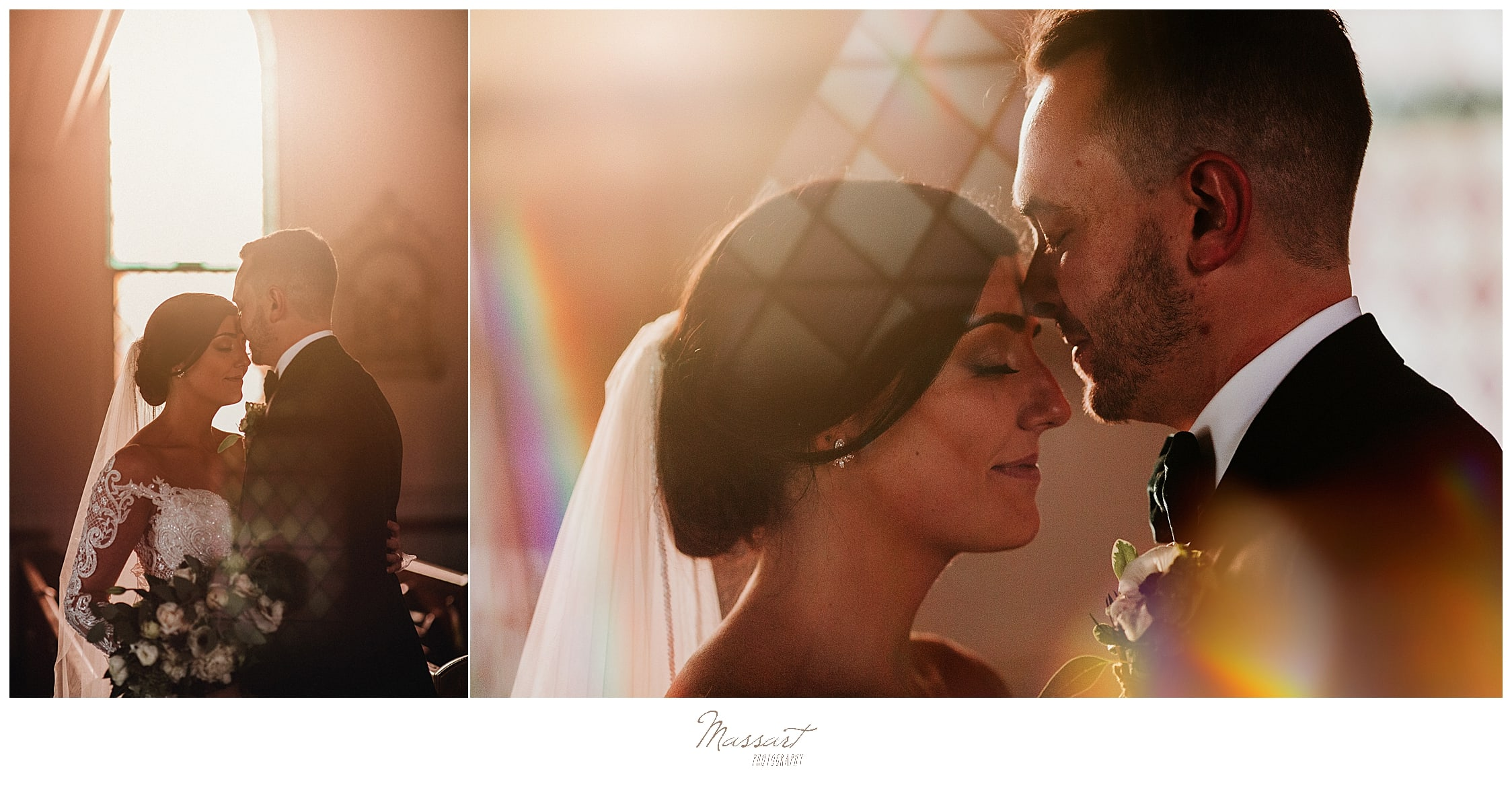 bride and groom pose for sunkissed portraits by Massart Photography