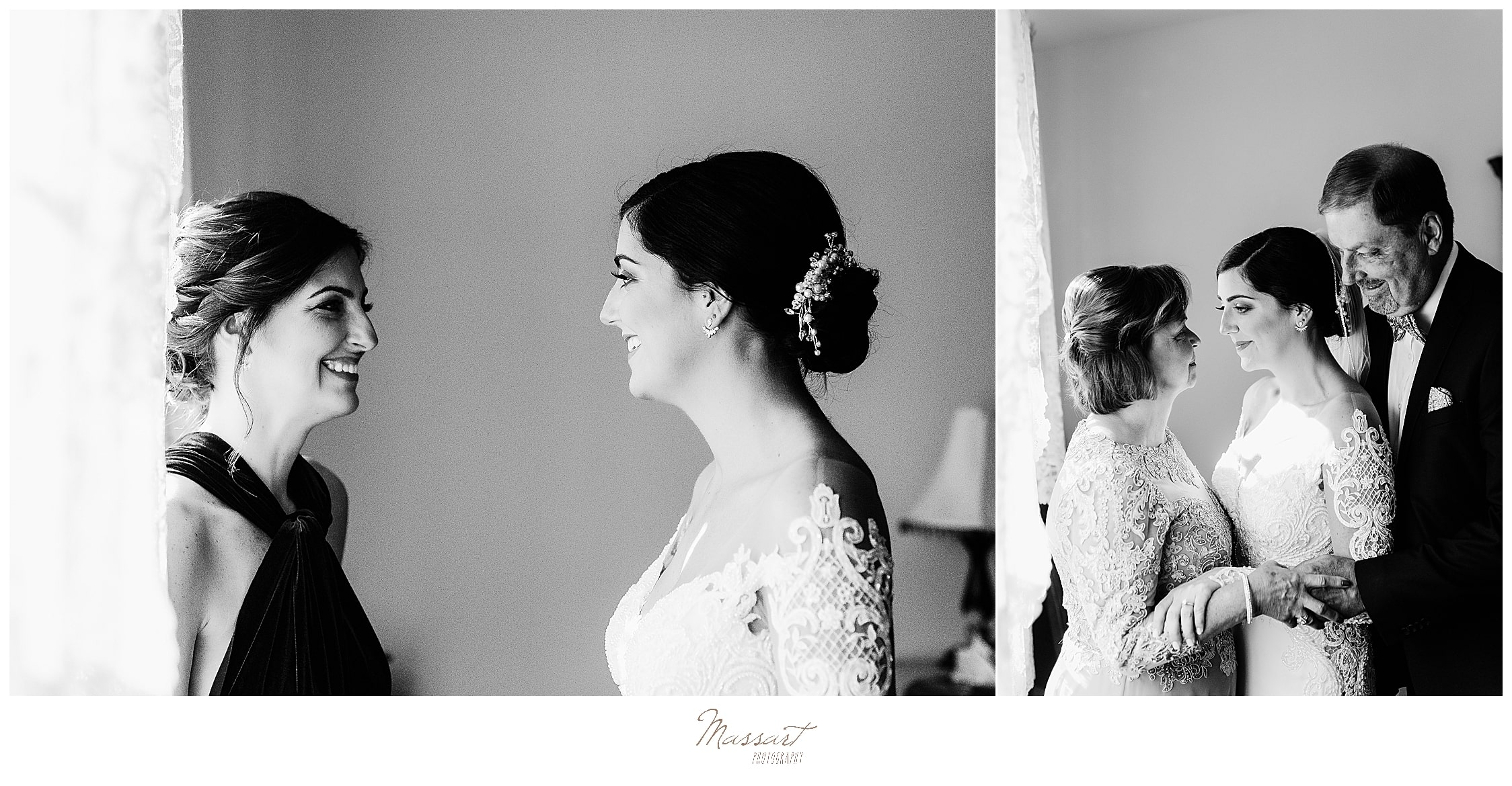 bride prepares for wedding day with bridesmaids photographed by Massart Photography