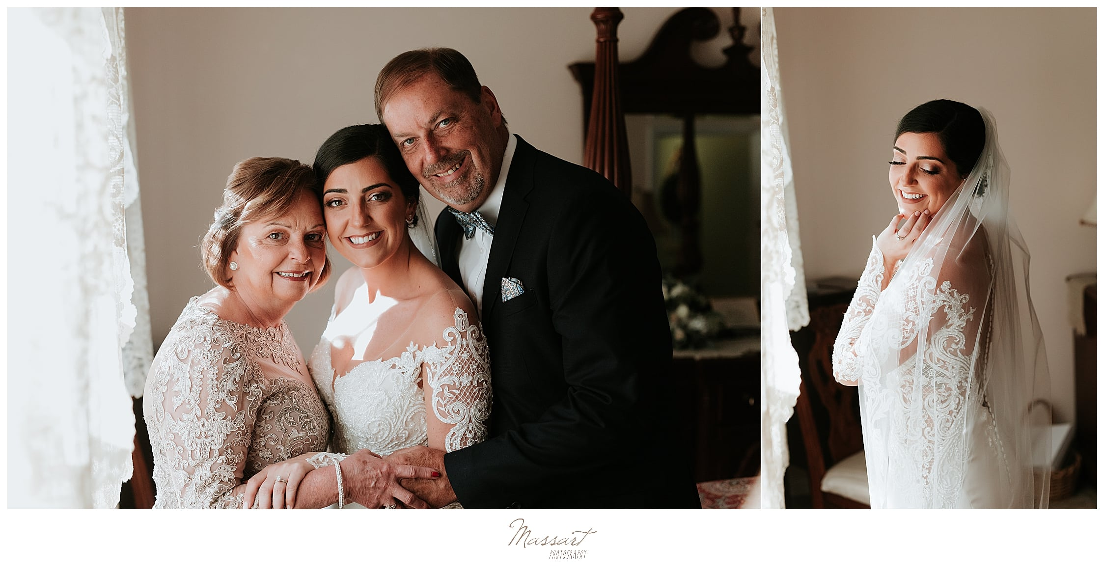 bride and family pose for RI, CT, MA wedding photographers Massart Photography