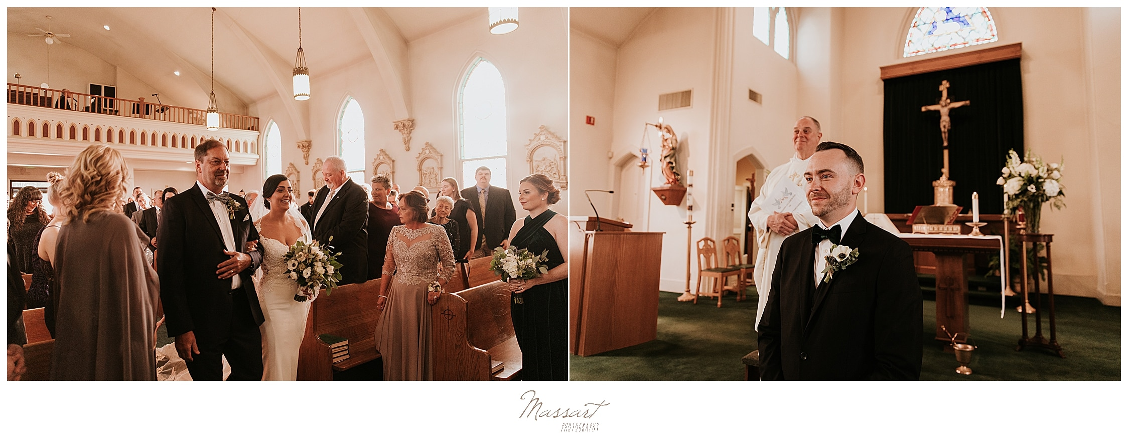 wedding ceremony in St. Ambrose Church in Lincoln photographed by Massart Photography