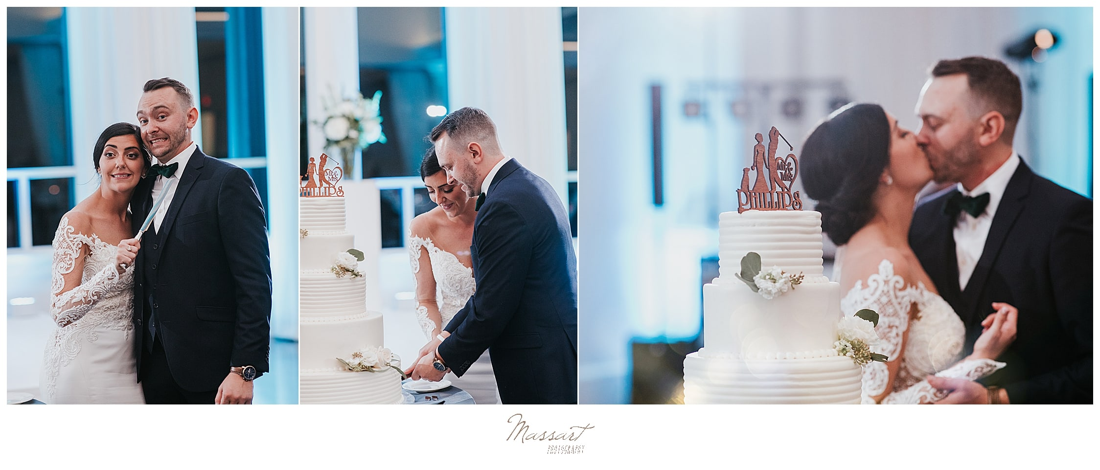 bride and groom cut the cake photographed by Massart Photography