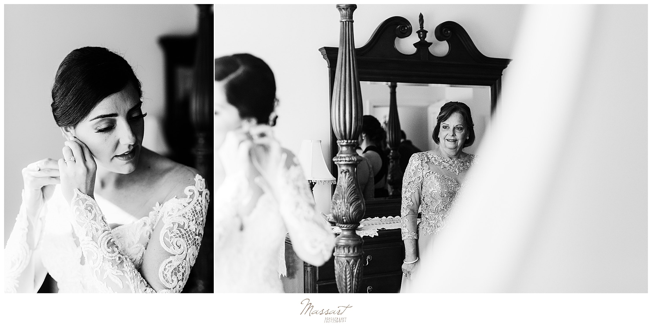 bride prepares for wedding day with Massart Photography