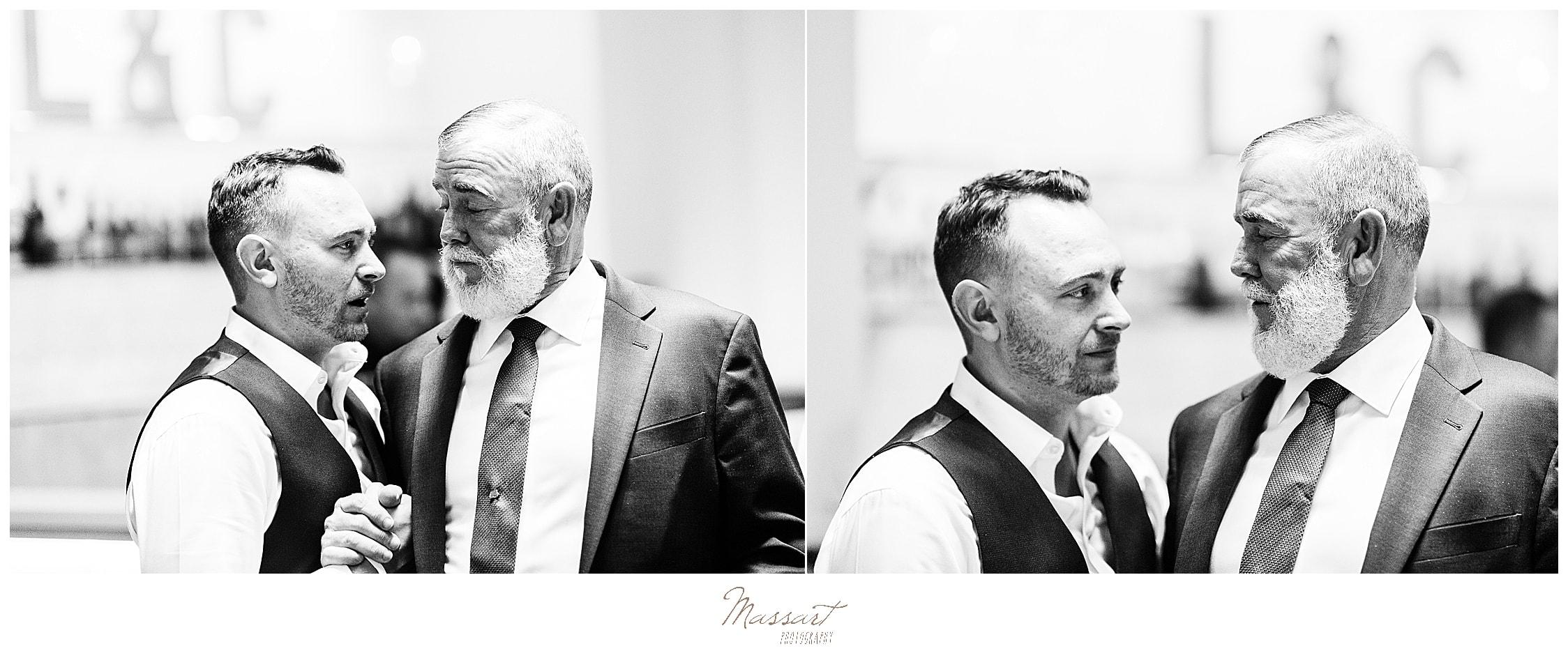 groom and family hug photographed by MA wedding photographer Massart Photography