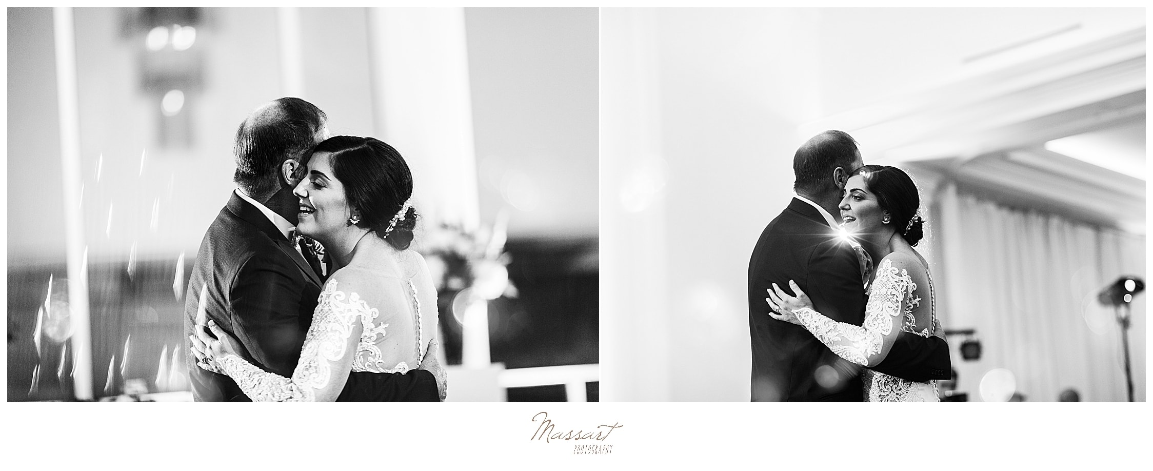 bride and father dance at Lakeview Pavilion wedding reception photographed by Massart Photography