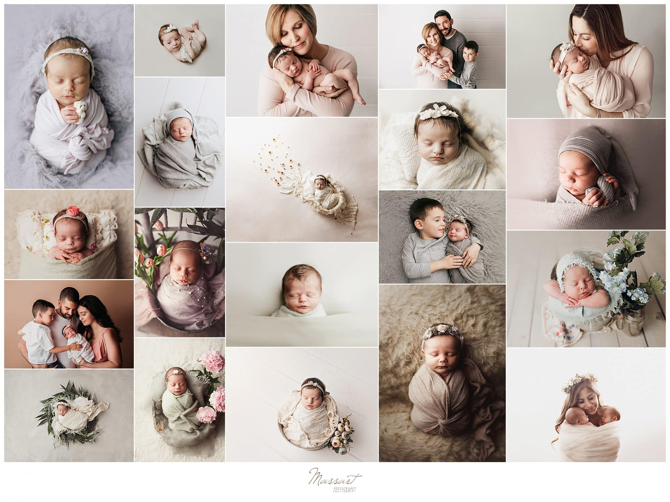 Creative images of babies during newborn shoots taken by Massart Photography whose photographers service RI, CT and MA