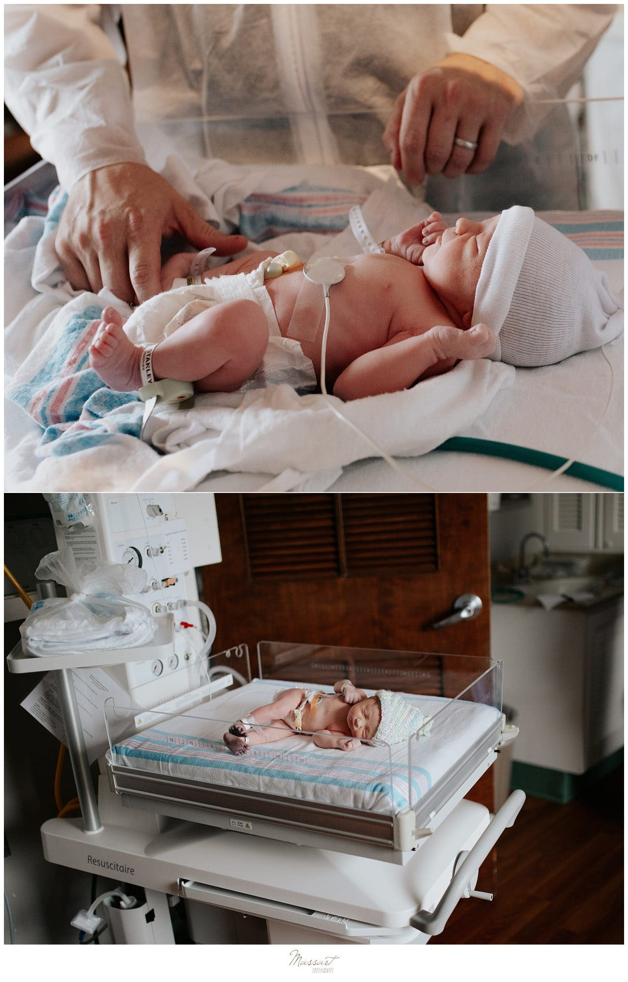Photo of a newborn at Newport Hospital during a fresh 48 birth photo session in Rhode Island by Massart Photography