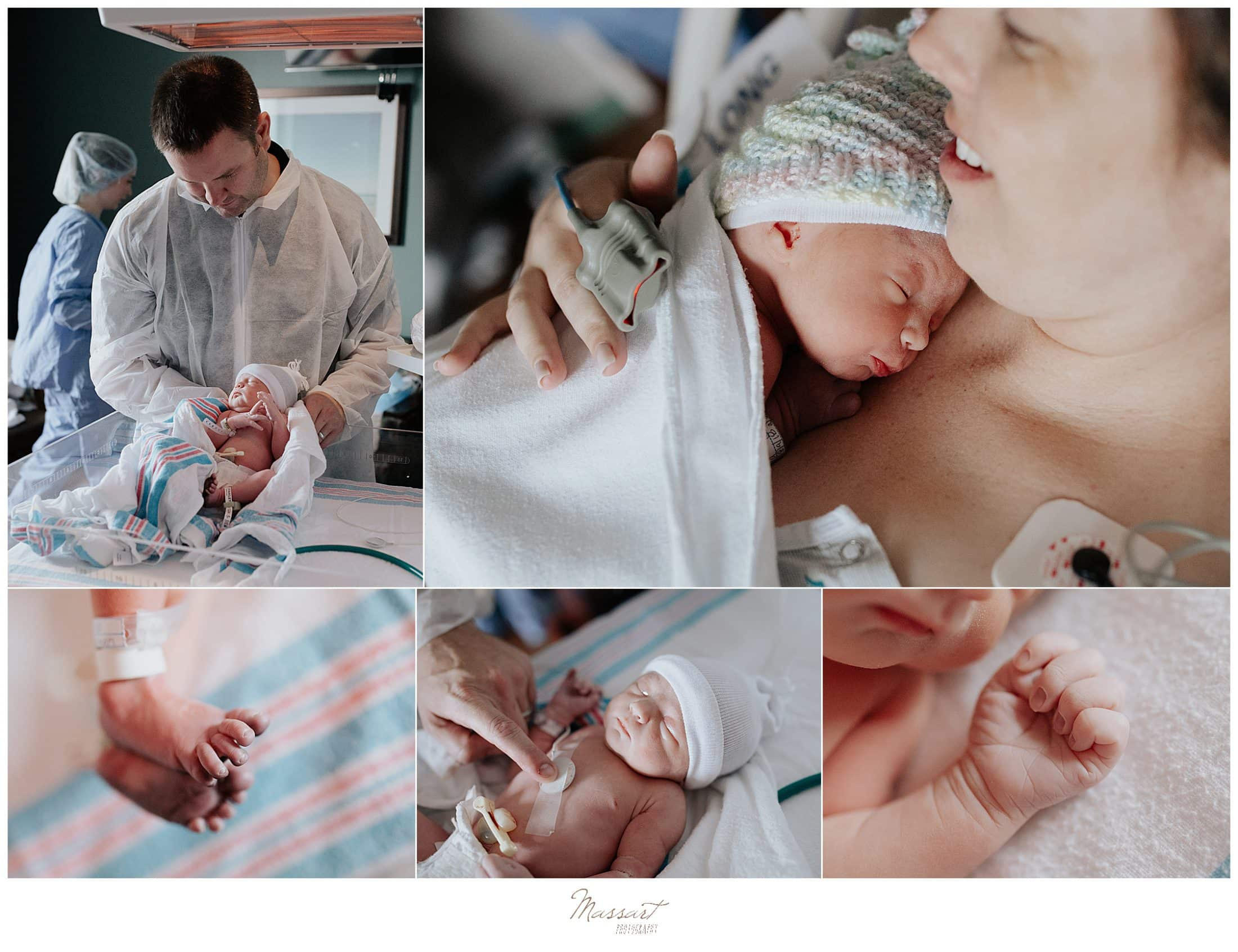 Massart Photography captures a newborn baby at Newport Hospital in Rhode Island during a fresh 48 session