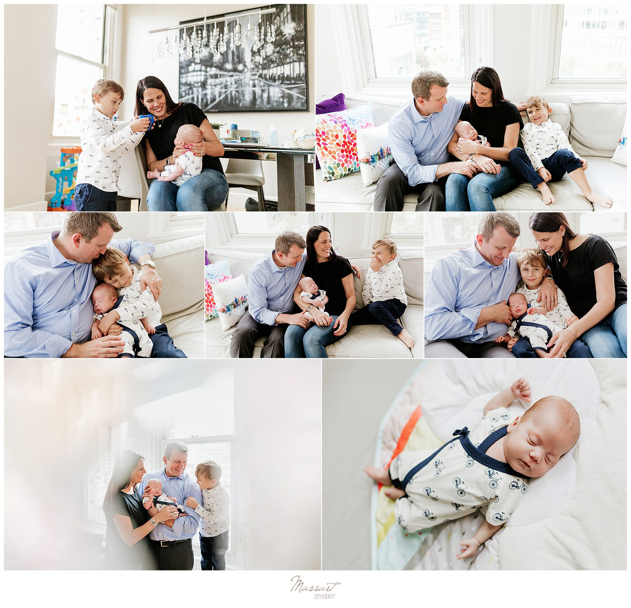 Massart photography of RI captures a family in their Boston appartement during a lifestyle newborn session.