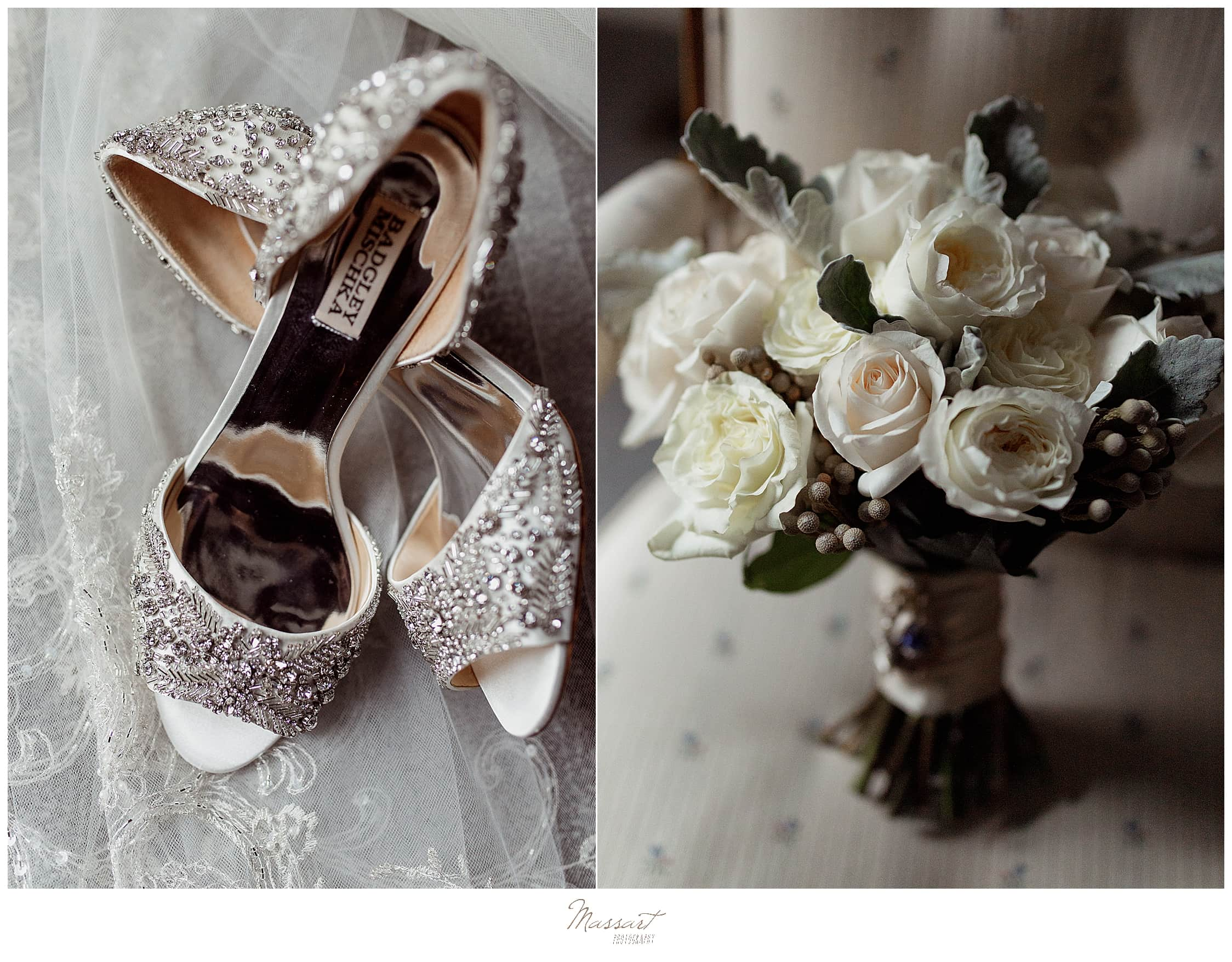 bride's silver Badgley Mischka shoes with ivory wedding bouquet photographed by Massart Photography
