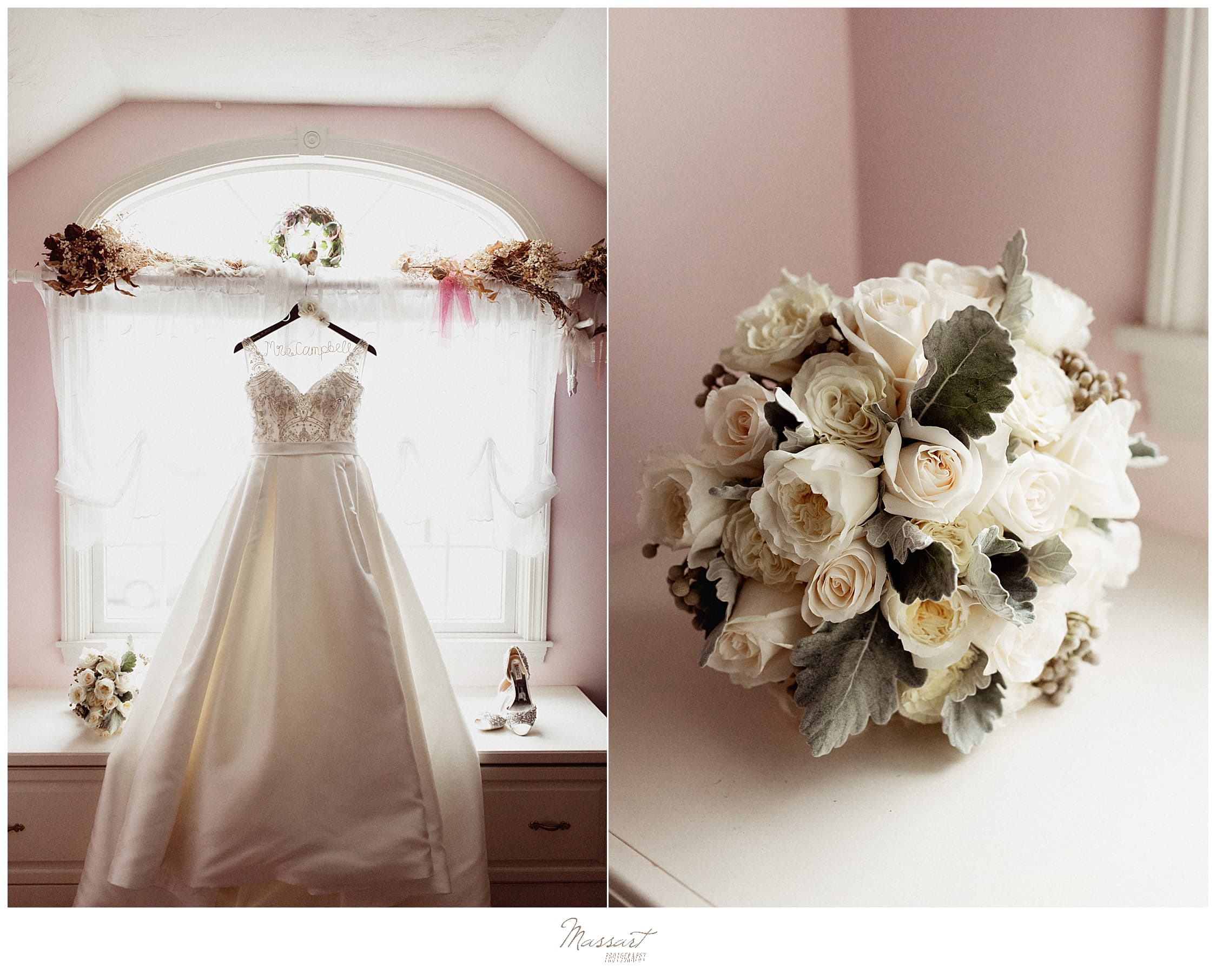 bride's strapless wedding gown with ivory wedding bouquet before MA wedding day photographed by Massart Photography