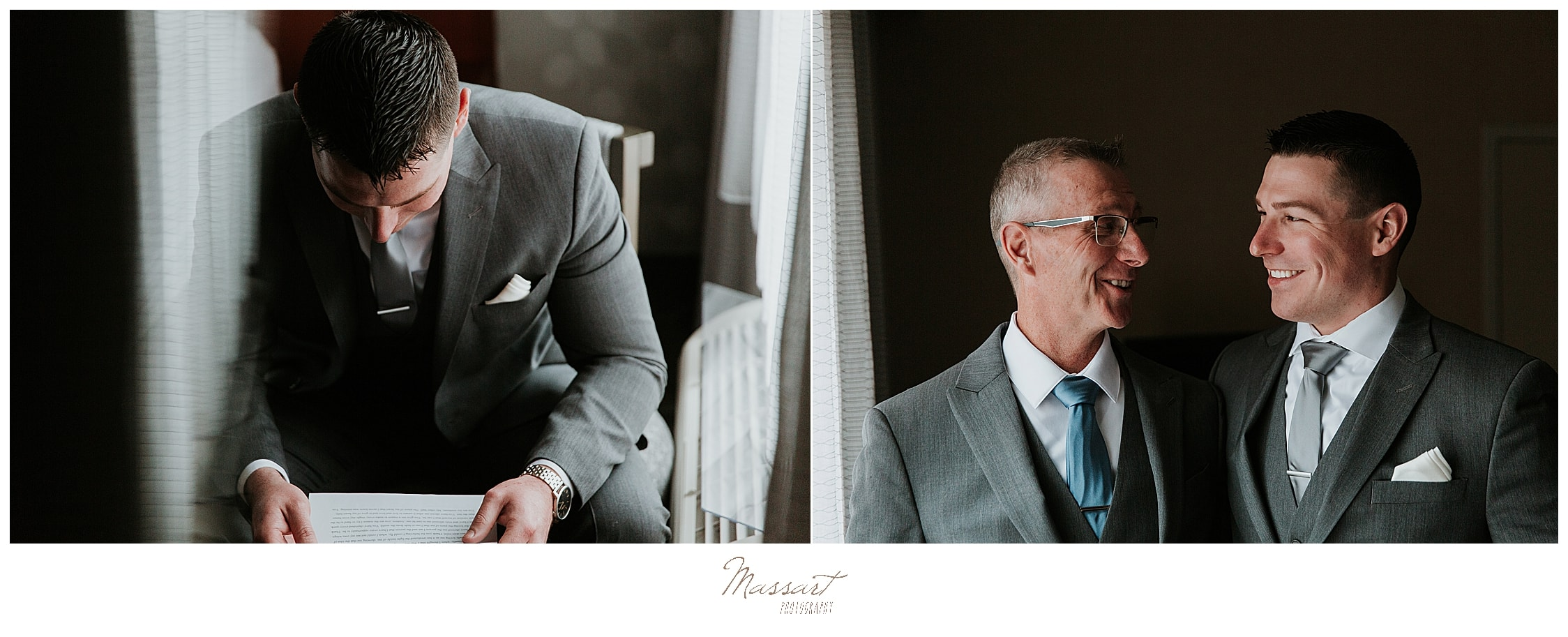 groom prepares for wedding day with father photographed by Massart Photography