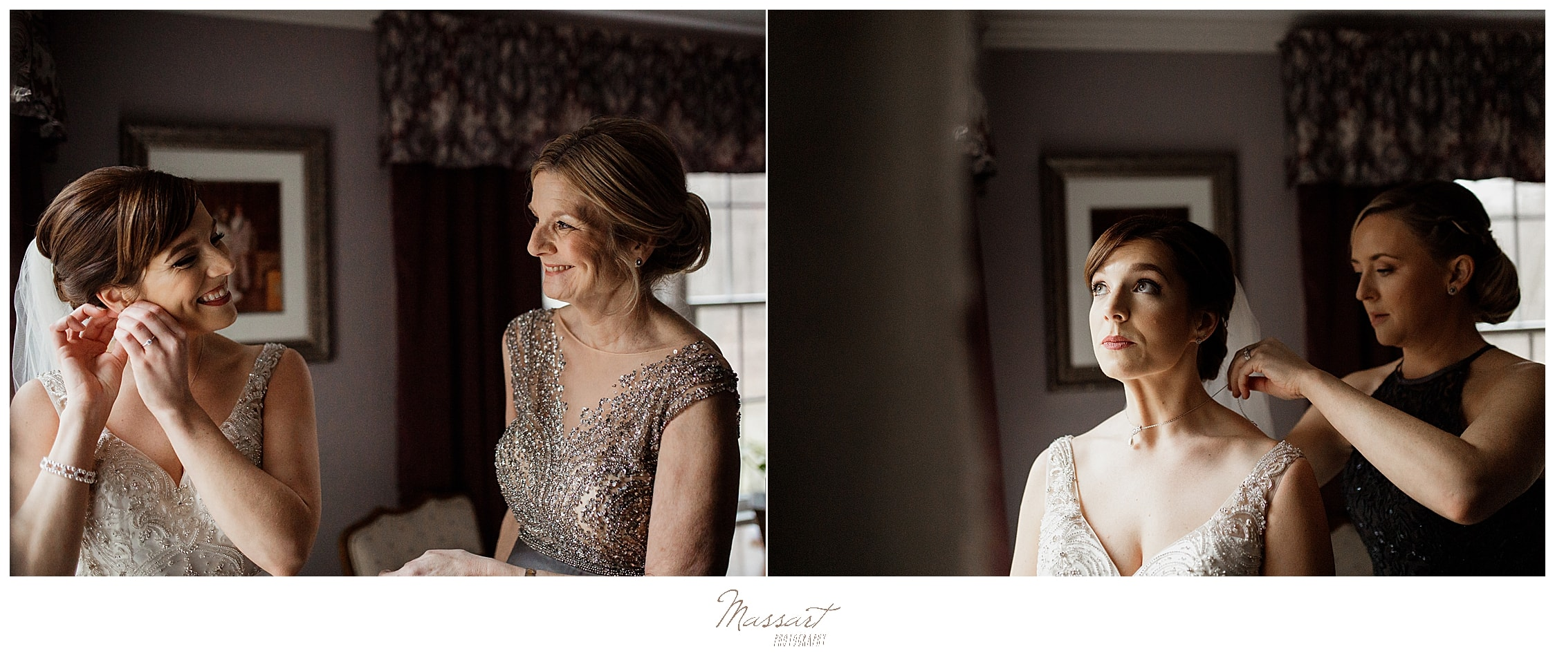 bride prepares for Lakeview Pavilion wedding with mother and bridesmaid photographed by Massart Photography