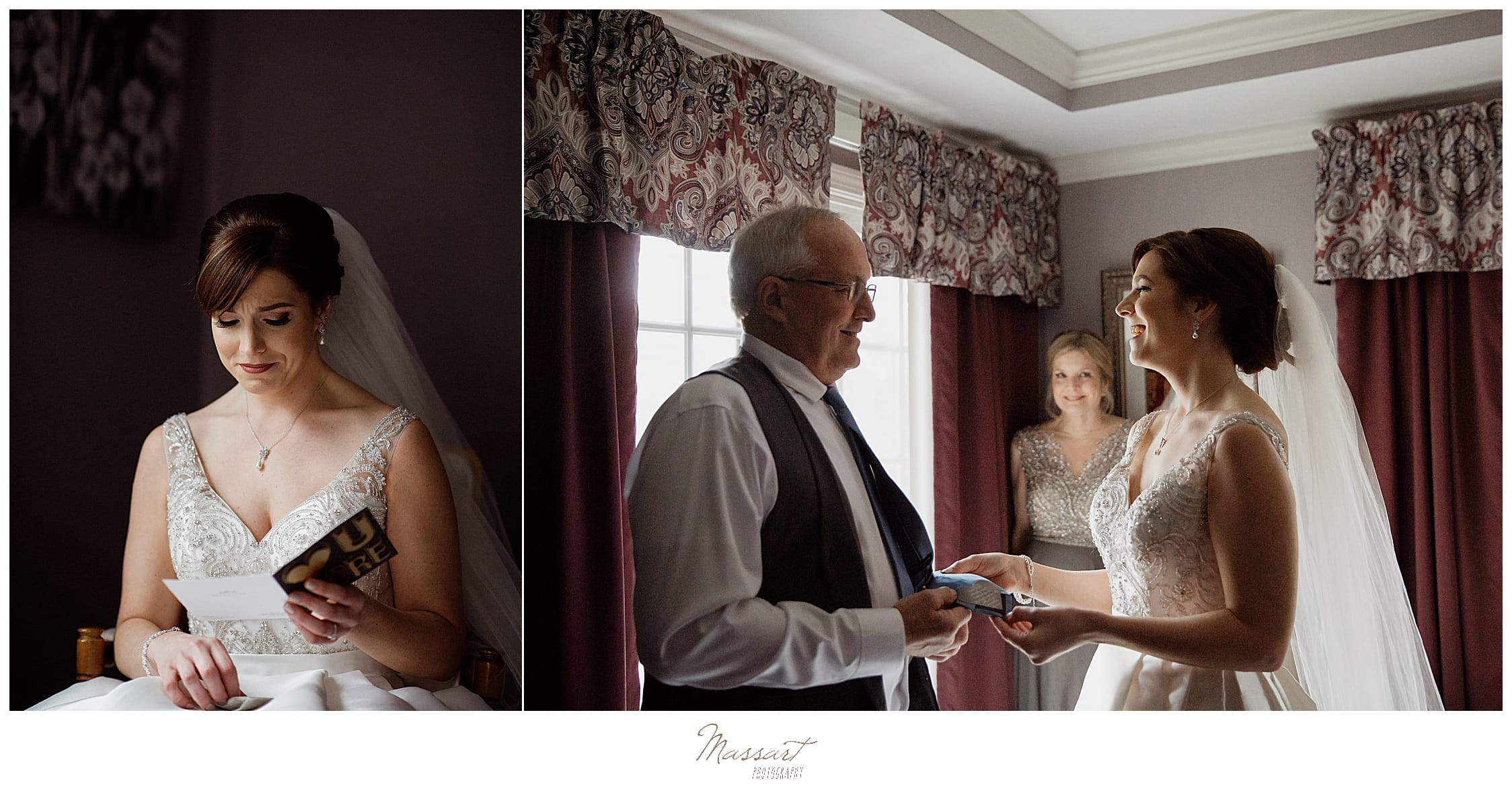 bride talks with parents before wedding day in MA photographed by Massart Photography
