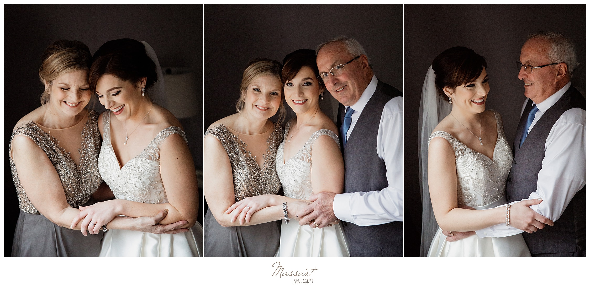 bride poses with parents on wedding day in MA with Massart Photography