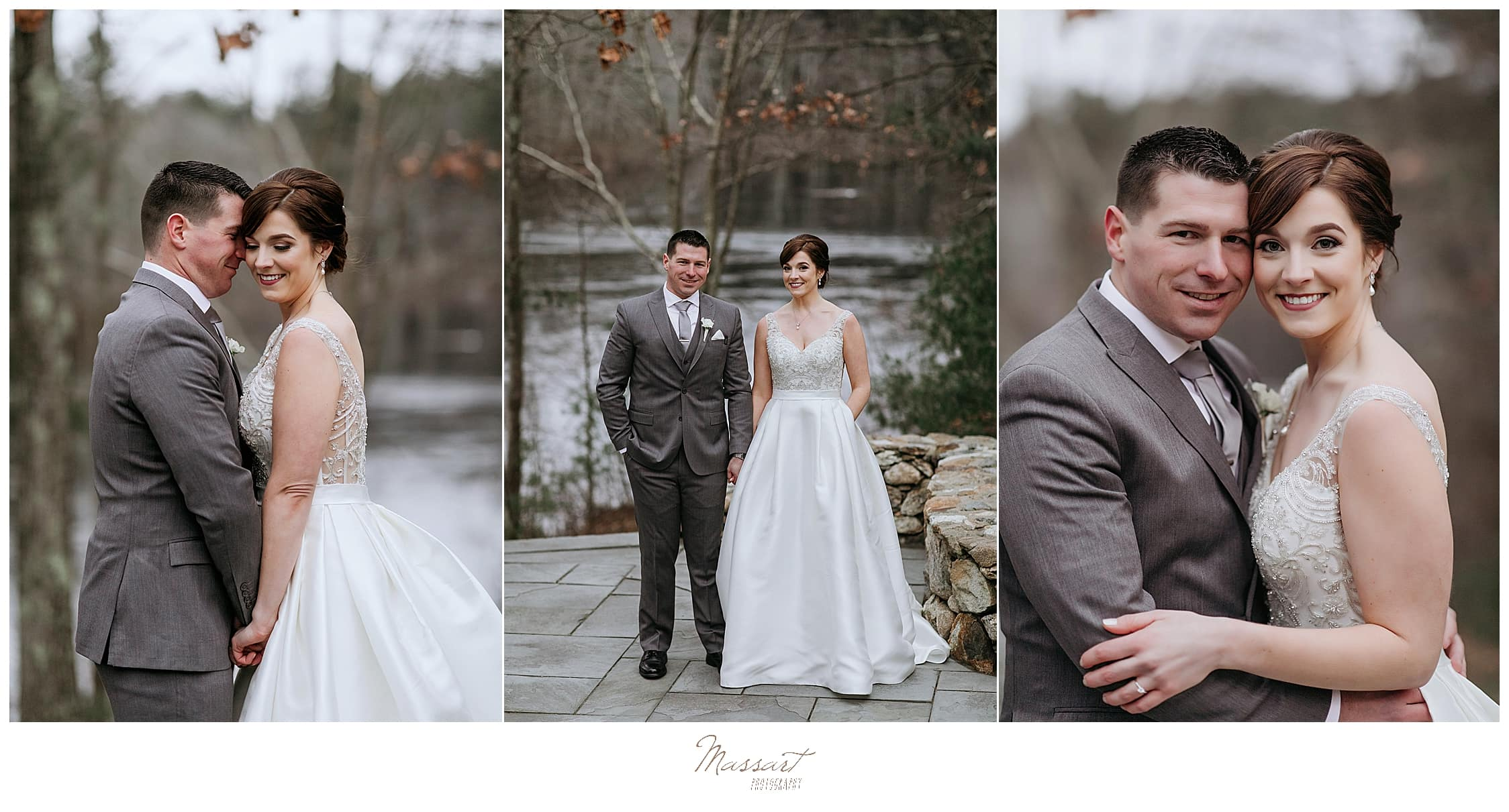 romantic winter wedding portraits in Foxboro MA by Massart Photography