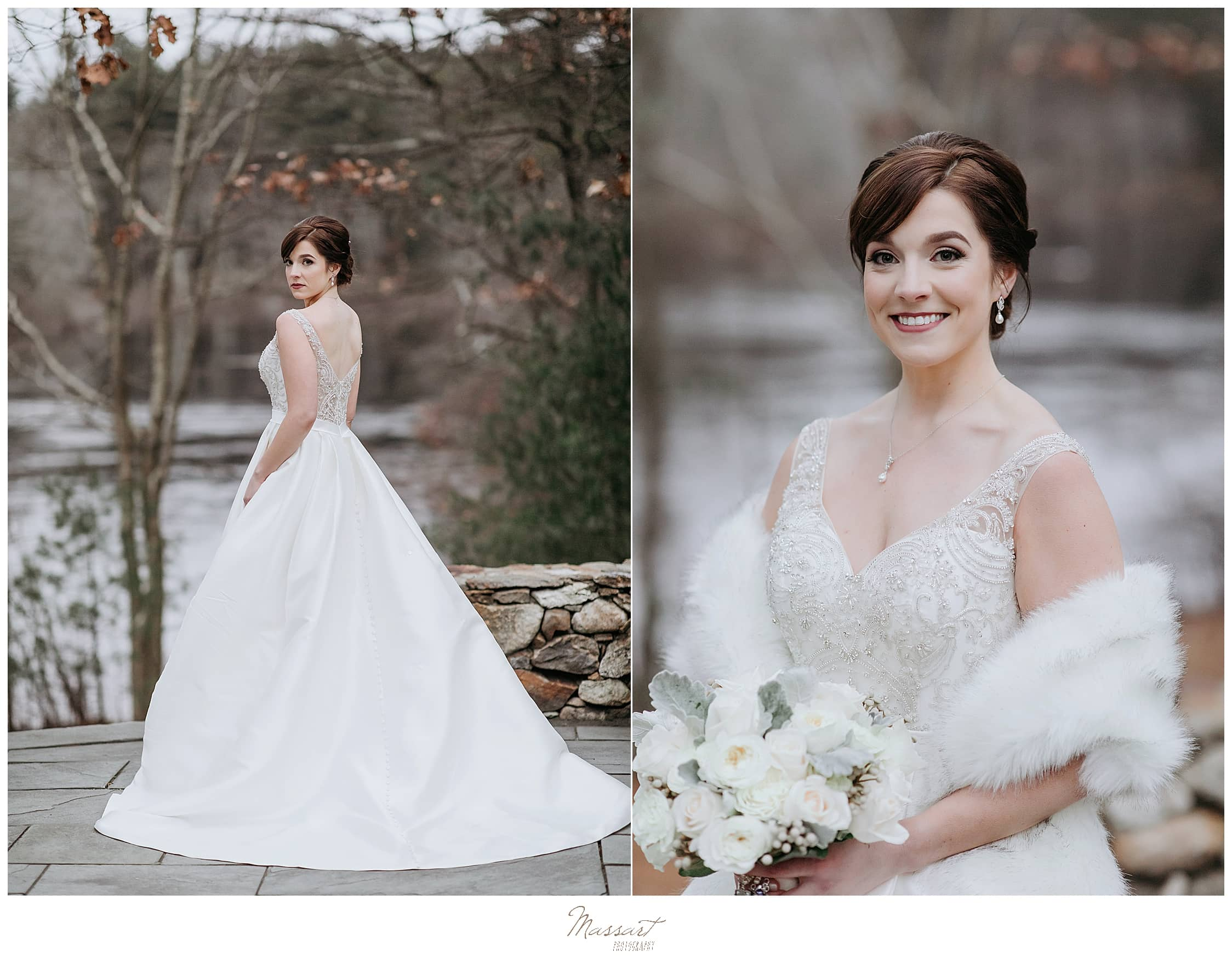 winter bridal portraits in Foxboro MA by water by Massart Photography