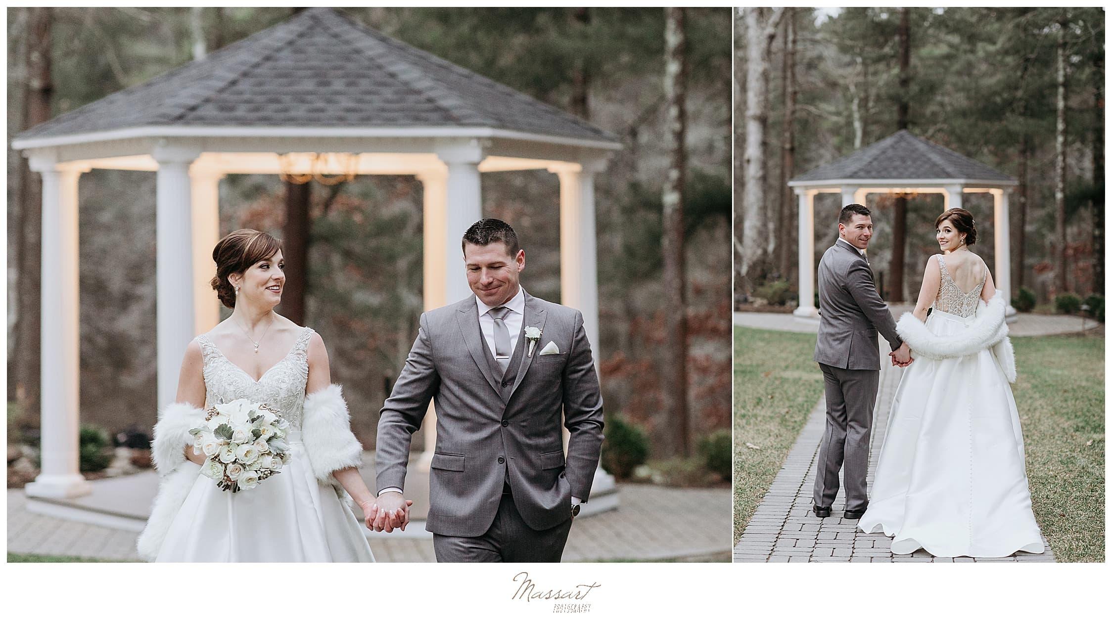 winter wedding portraits at Lakeview Pavilion gazebo by Massart Photography