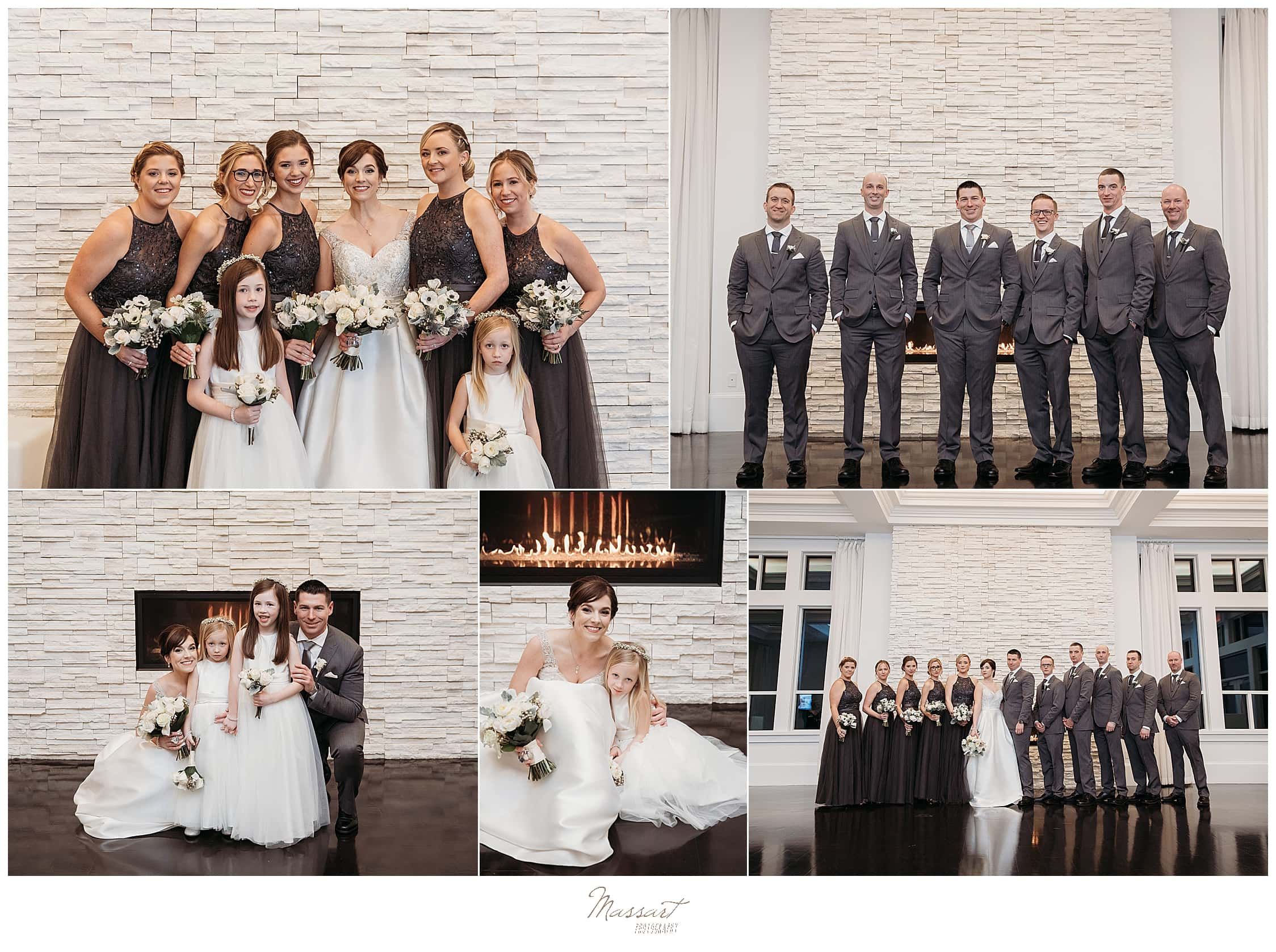 Foxboro MA wedding day bridal party portraits by Massart Photography