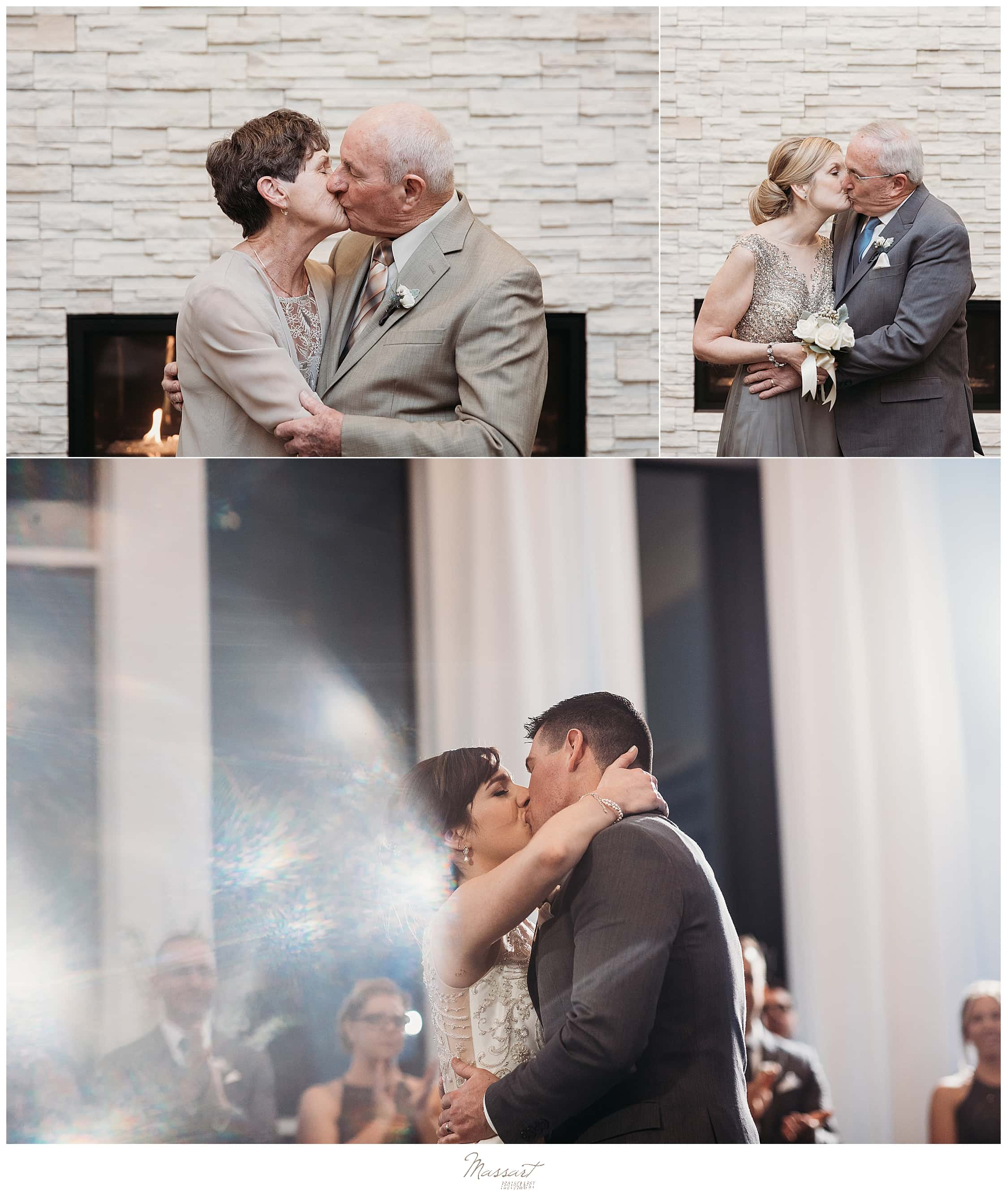 bride and groom kiss while parents kiss during wedding portraits at Lakeview Pavilion
