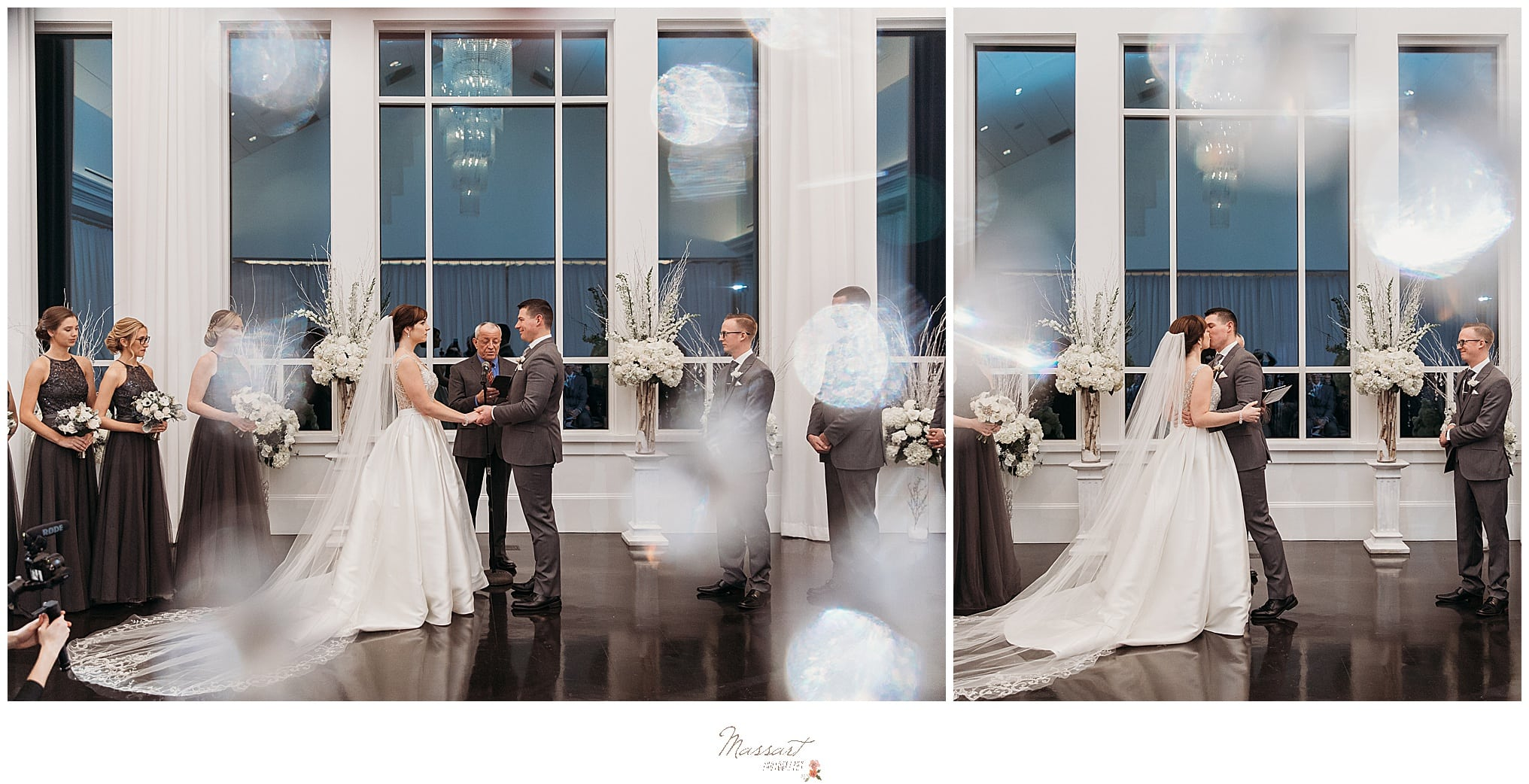 bride and groom at wedding ceremony shot by Massart Photography