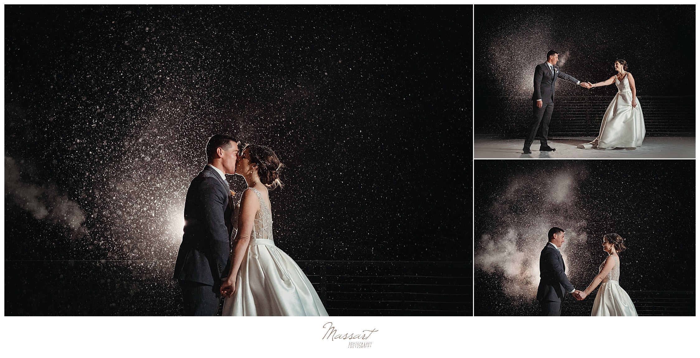 nighttime wedding portraits in the snow at Lakeview Pavilion by Massart Photography
