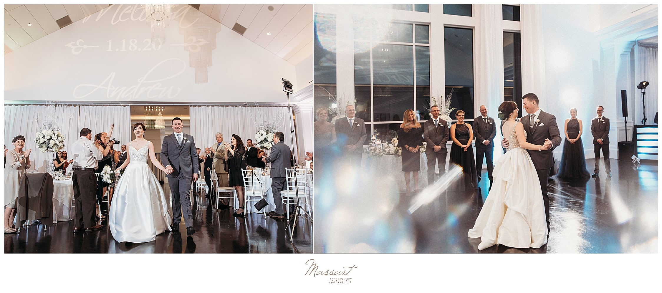 bride and groom enter wedding reception with Massart Photography