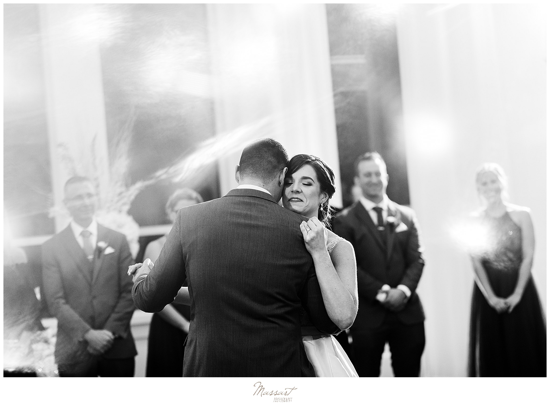 bride and groom enjoy first dance at Lakeview Pavilion photographed by Massart Photography