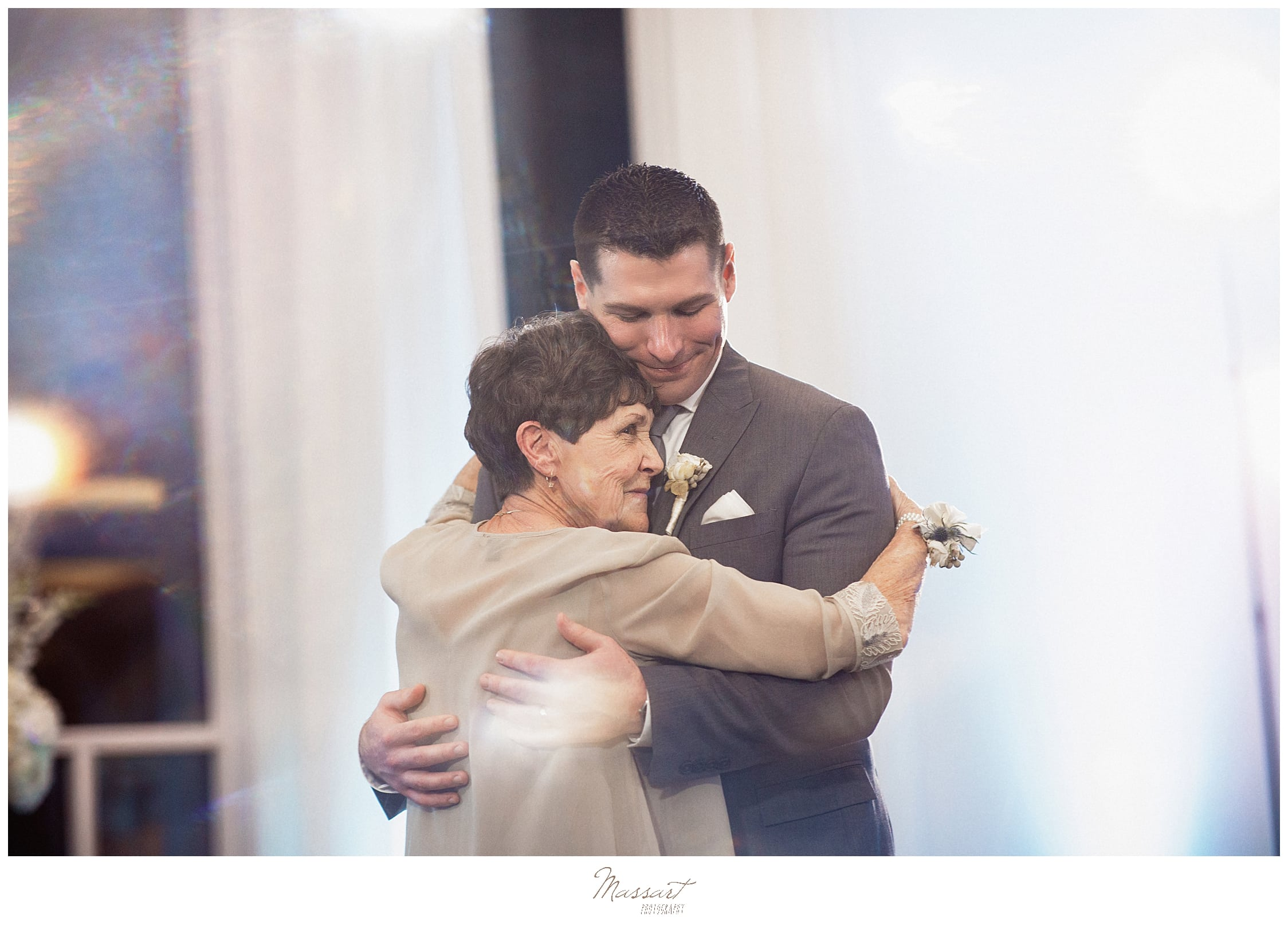 mother-son dance at Lake Pavilion wedding reception with Massart Photography