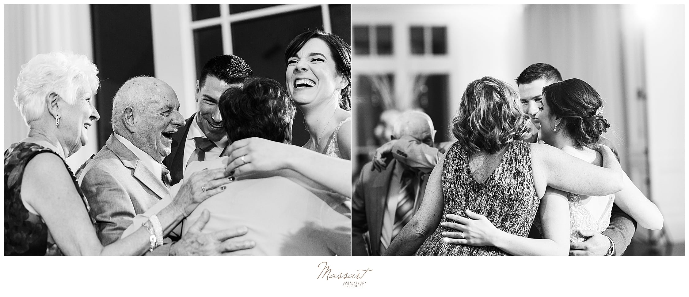 bride and groom dance with guests on wedding day at Lakeview Pavilion with Massart Photography