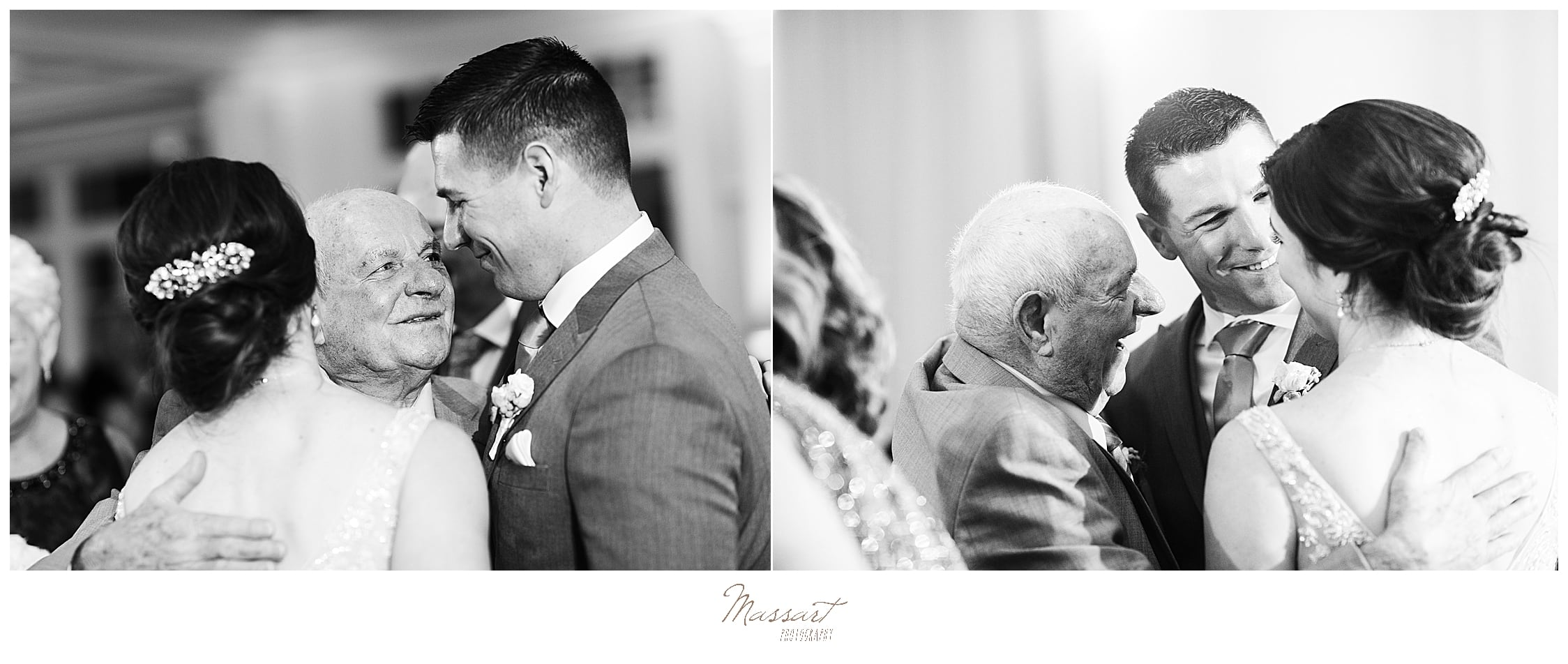 bride and groom dance with grandfather at MA wedding day