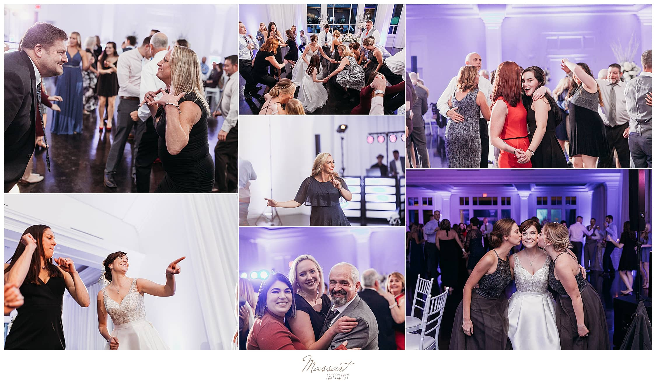 guests party at Lakeview Pavilion during wedding with Massart Photography