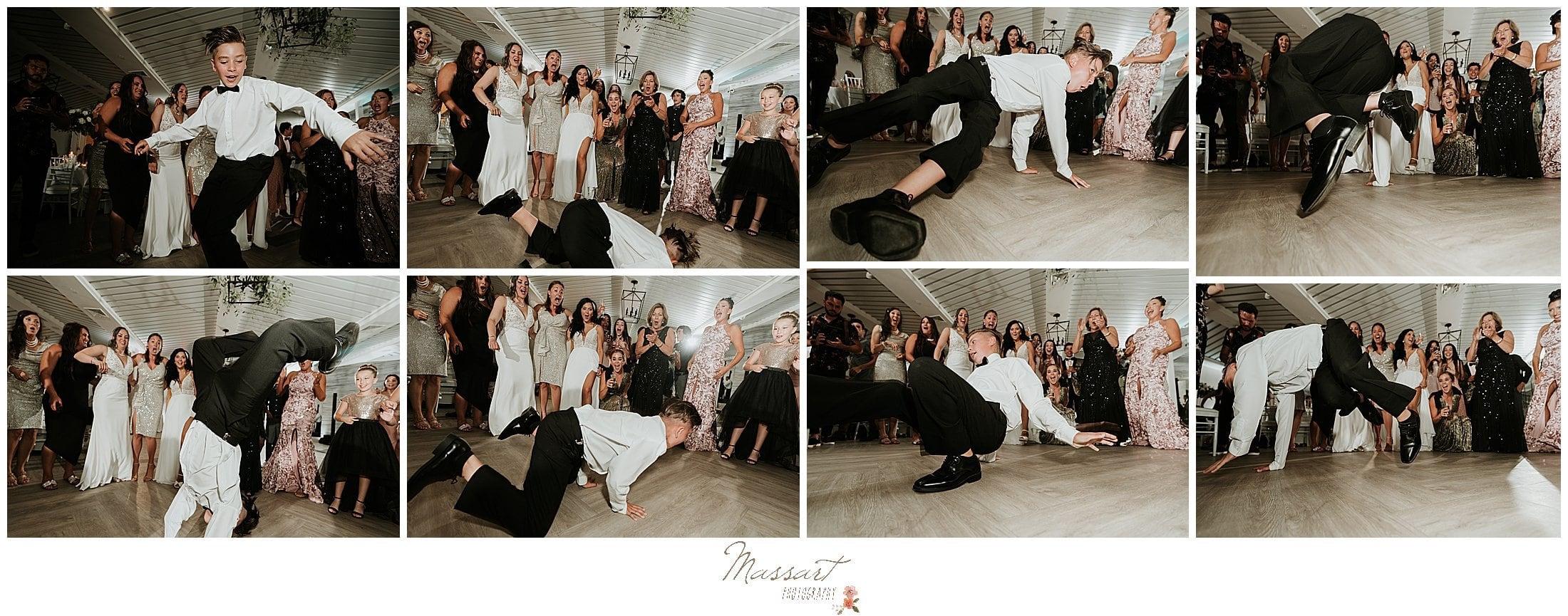 guest dances during Newport Beach House wedding day