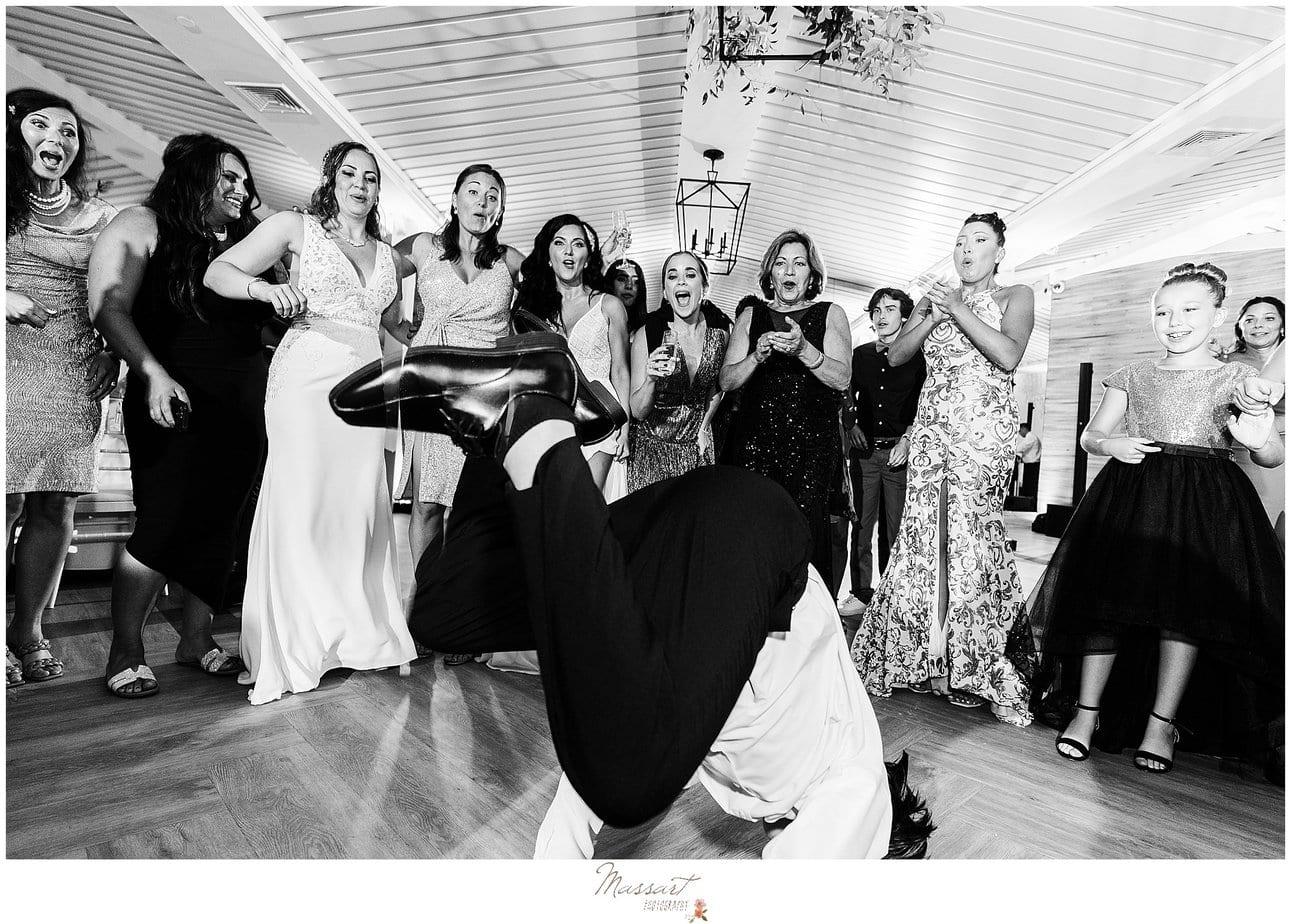 break dancing during RI wedding reception