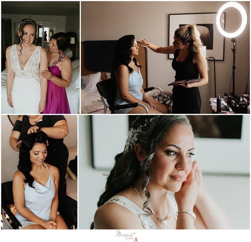 brides prepare for Newport Beach House wedding day