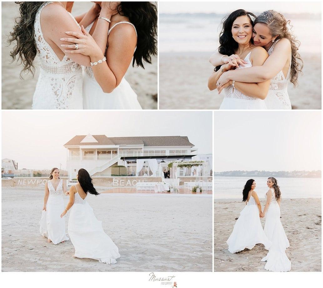 women hug on beach during RI wedding photos