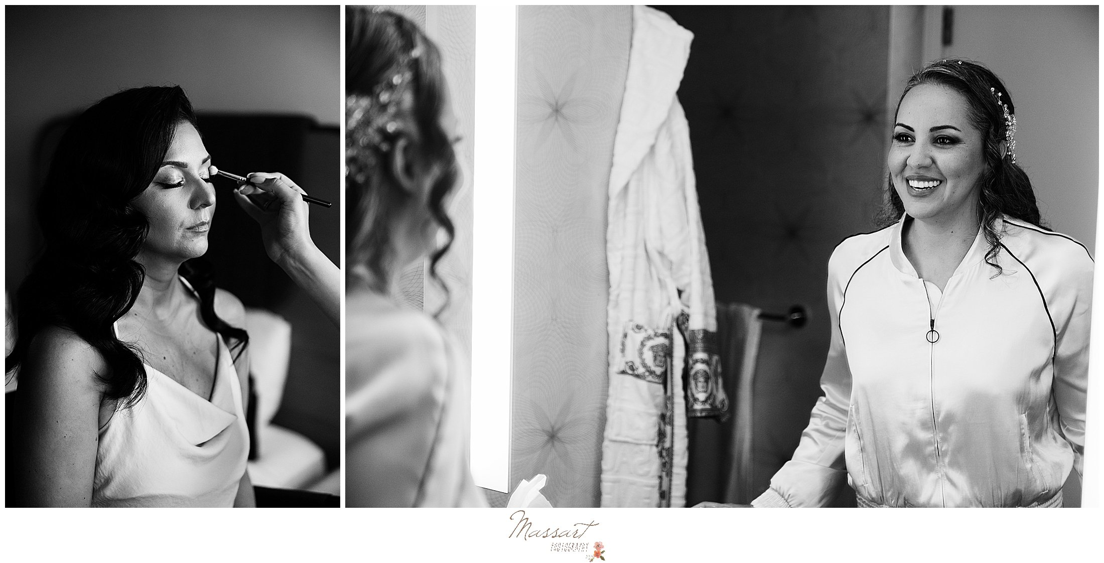 brides have makeup applied before RI wedding