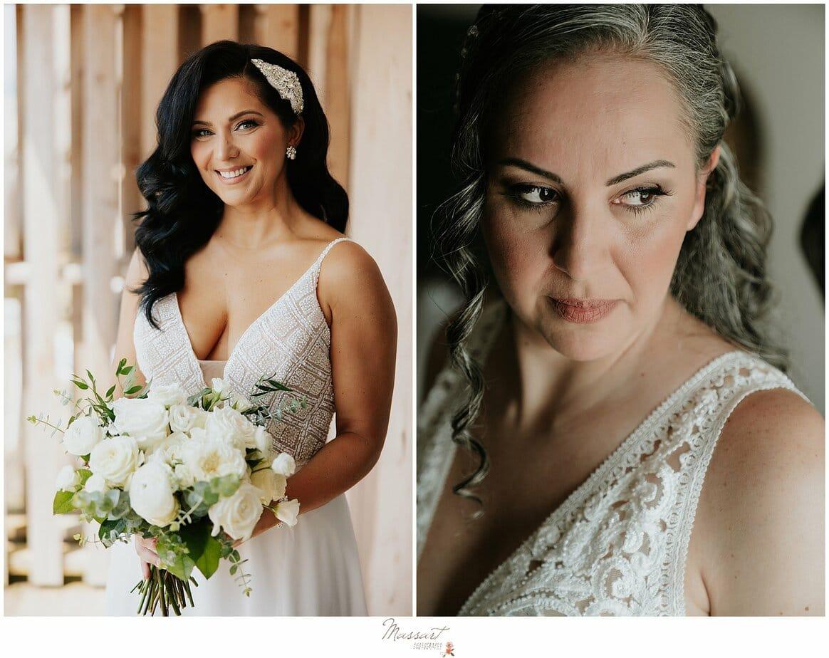bride looks over shoulder before RI wedding
