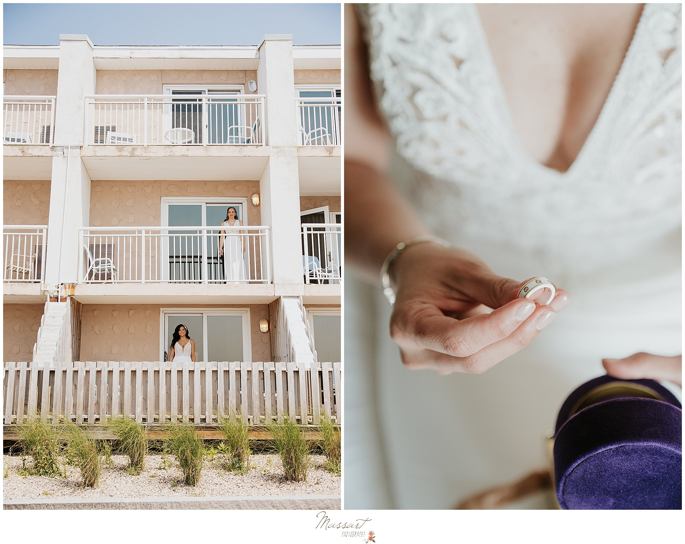 brides pose on two balconies at Newport Beach House