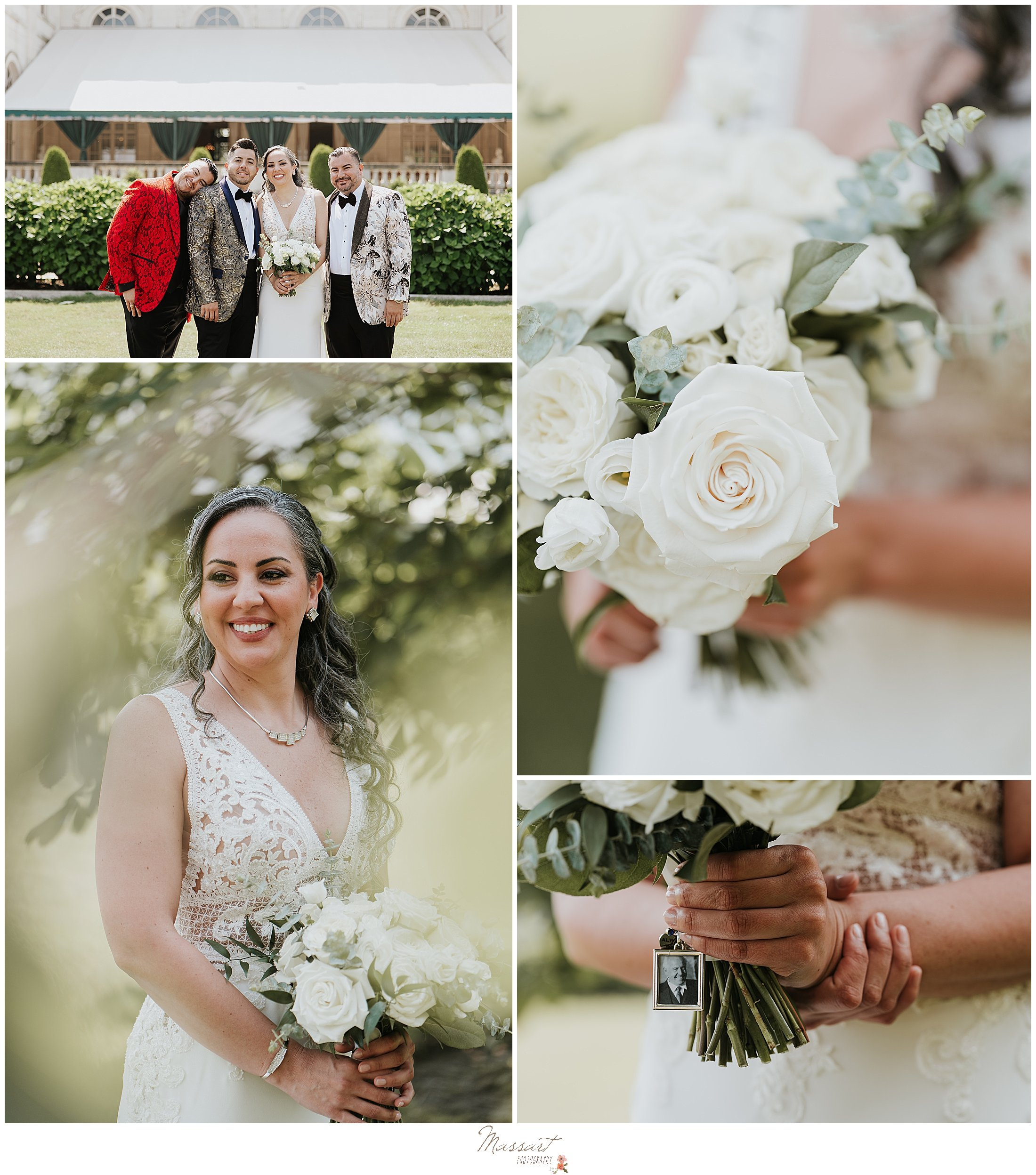 bride holds bouquet of white flowers before RI wedding