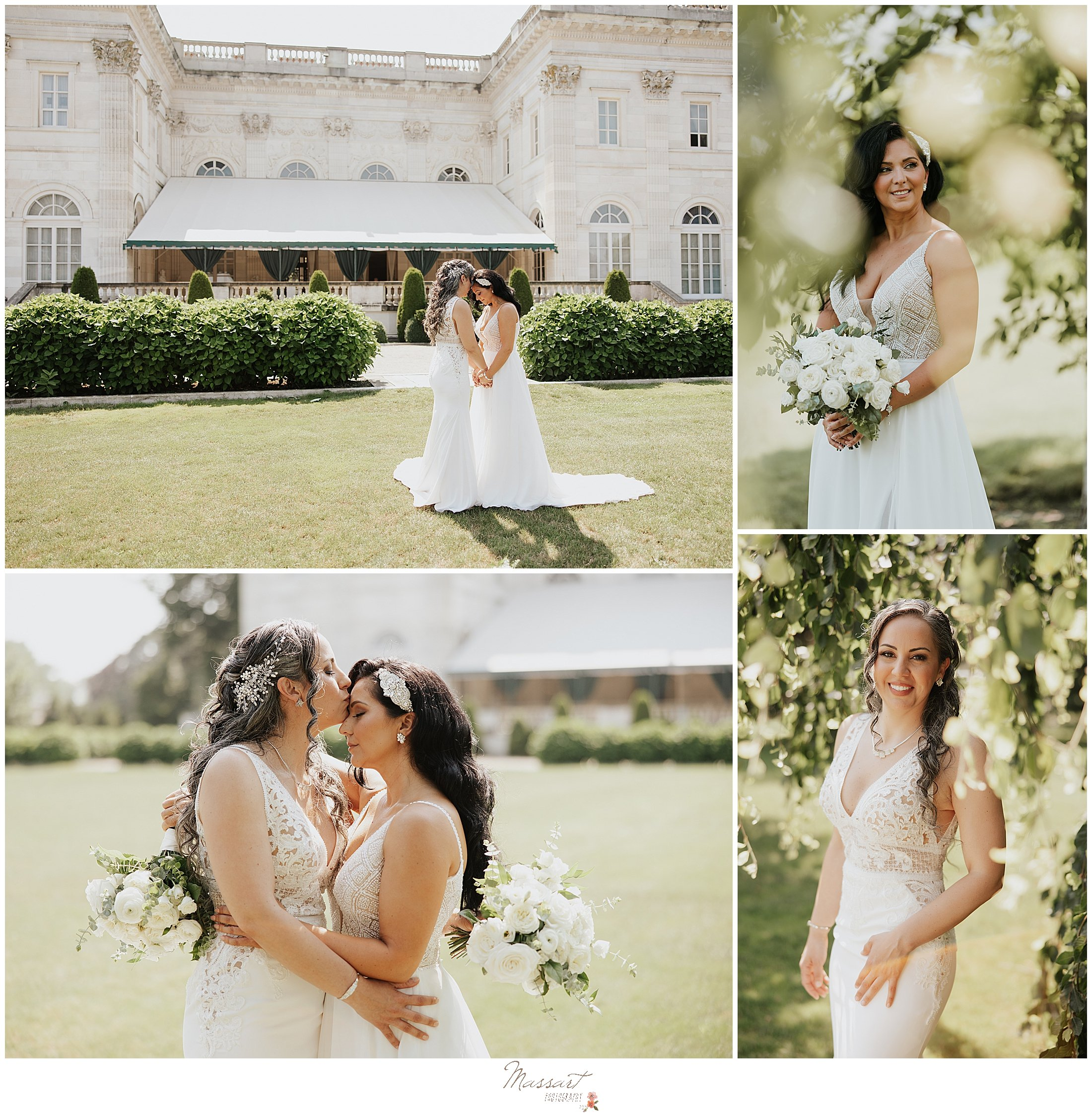 brides hug during first look at Newport Beach House