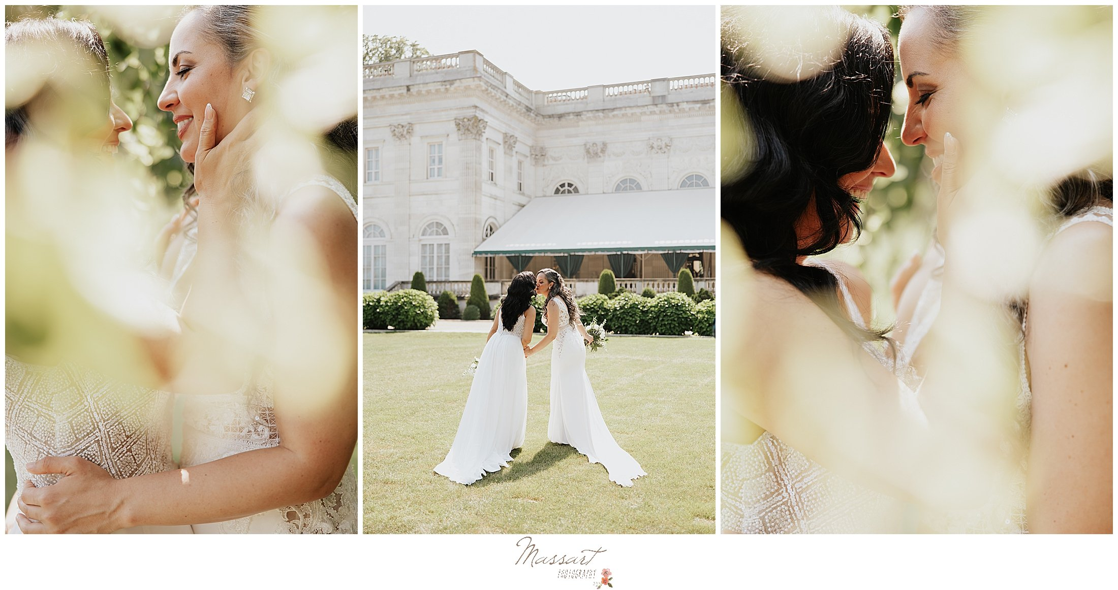 brides pose outside Newport Beach House in greenery