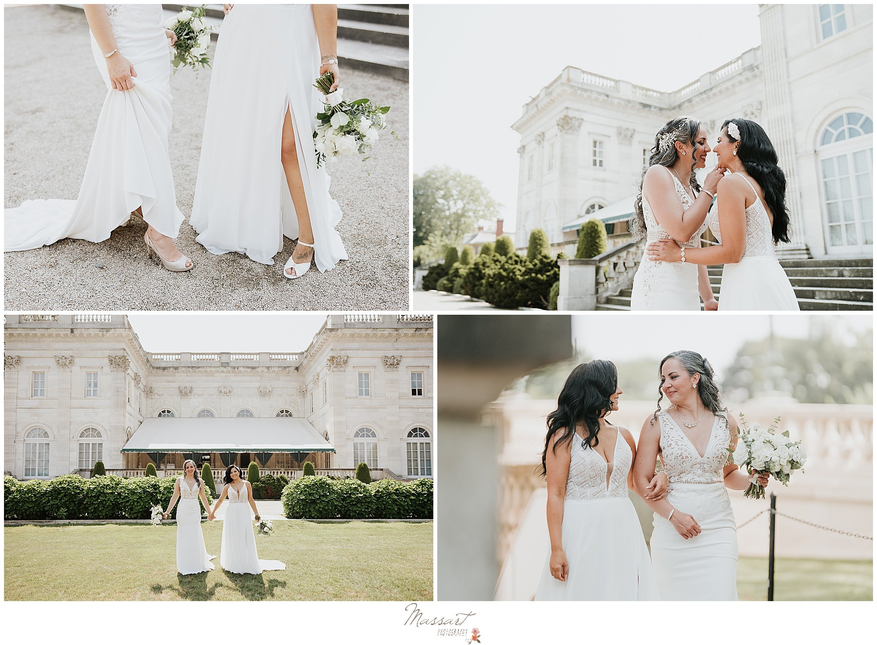 brides pose outside Newport Beach House
